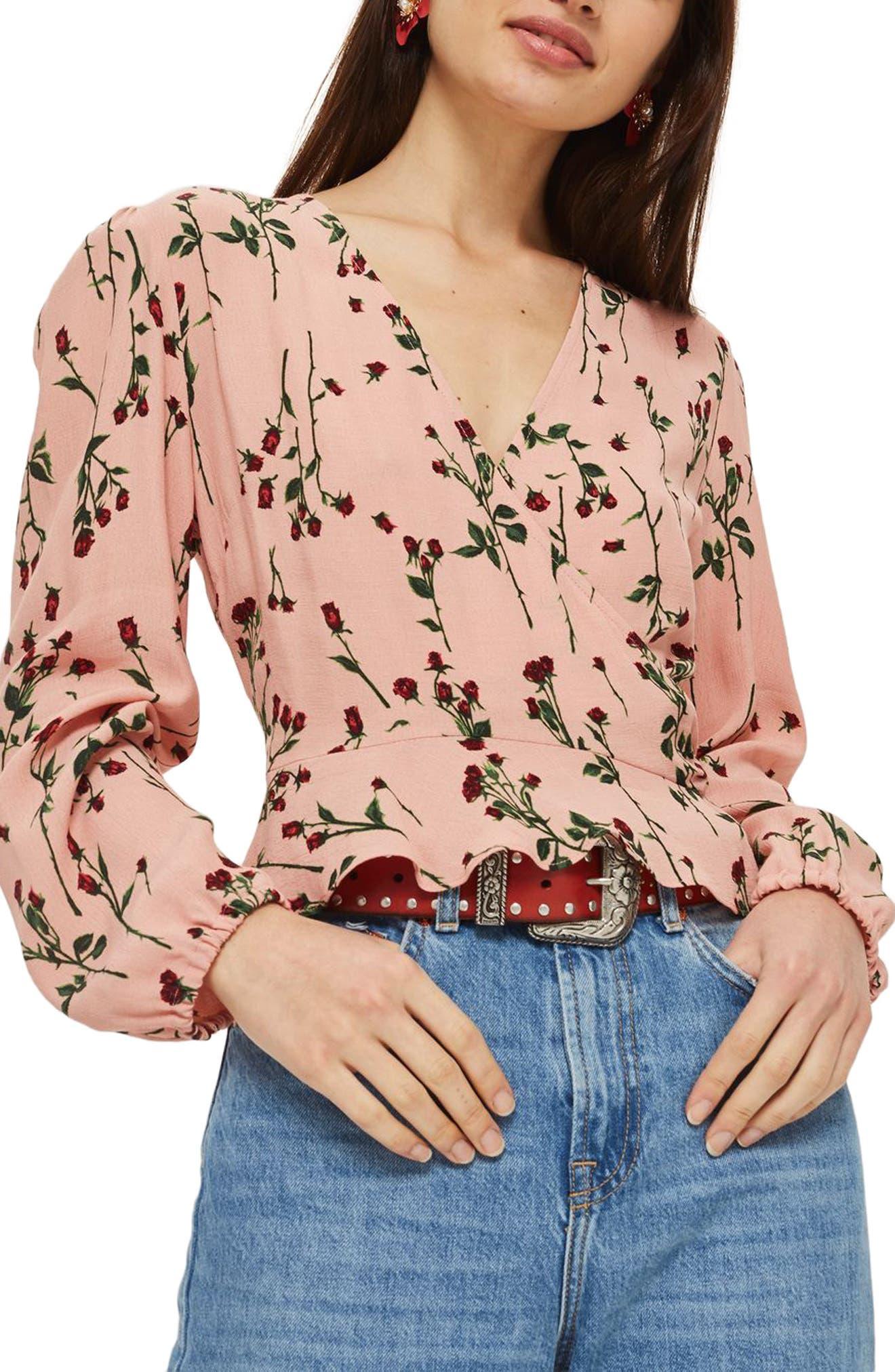 Rosebud Wrap Top,                         Main,                         color, Pink Multi