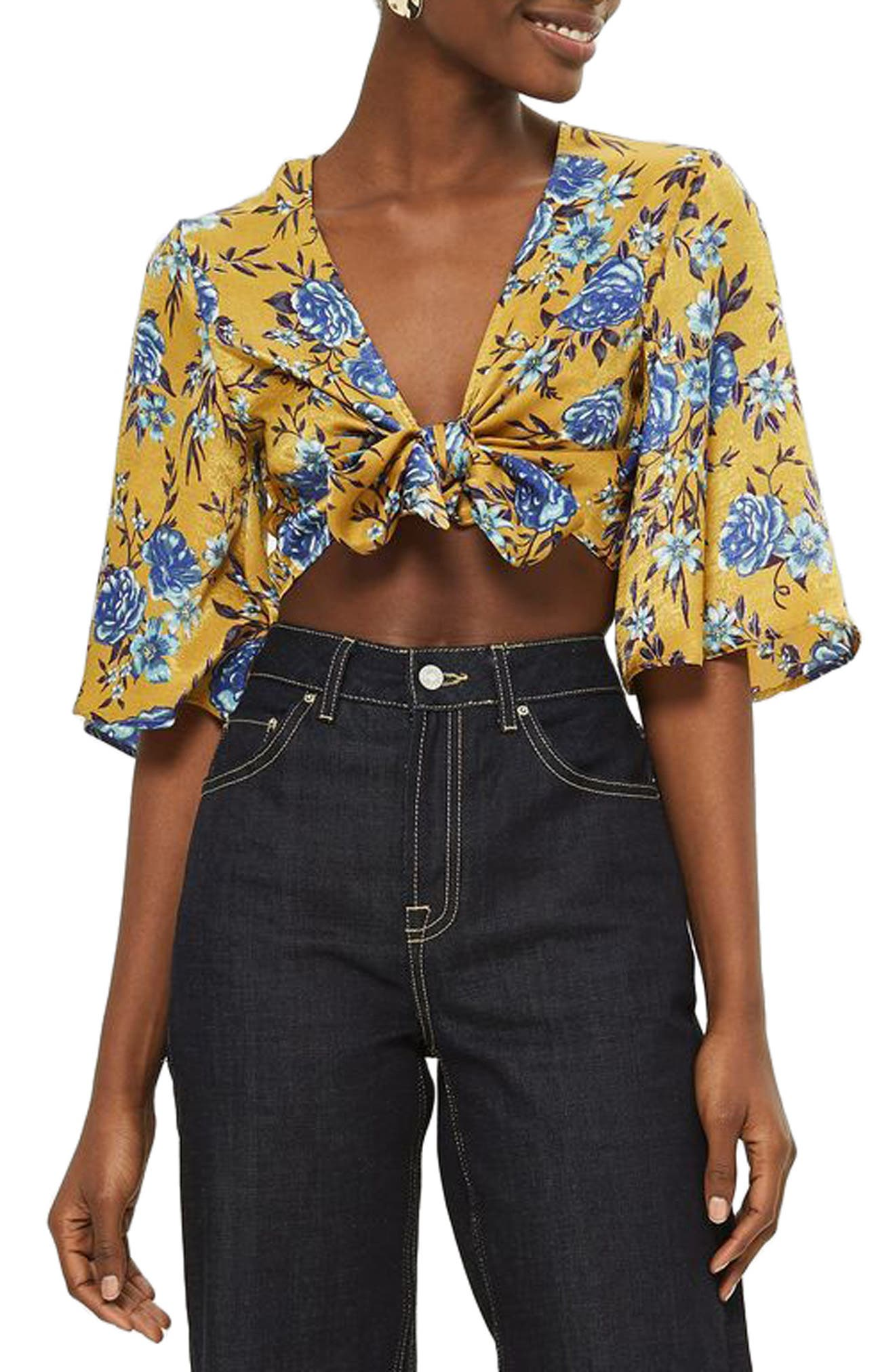 Floral Knot Front Crop Top,                             Main thumbnail 1, color,                             Mustard Multi