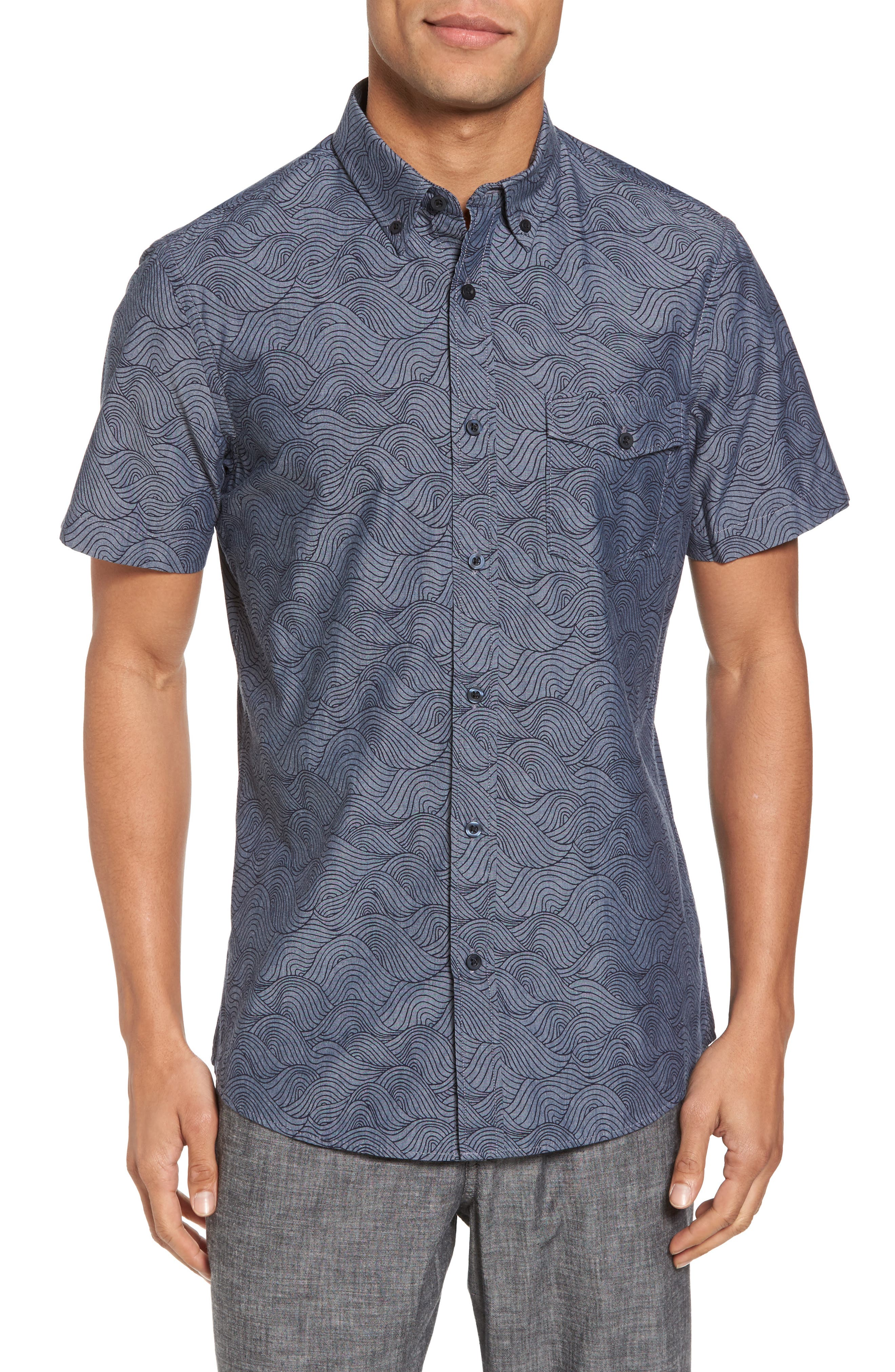 Trim Fit Ivy Print Sport Shirt,                         Main,                         color, Grey Onyx Rolling Waves