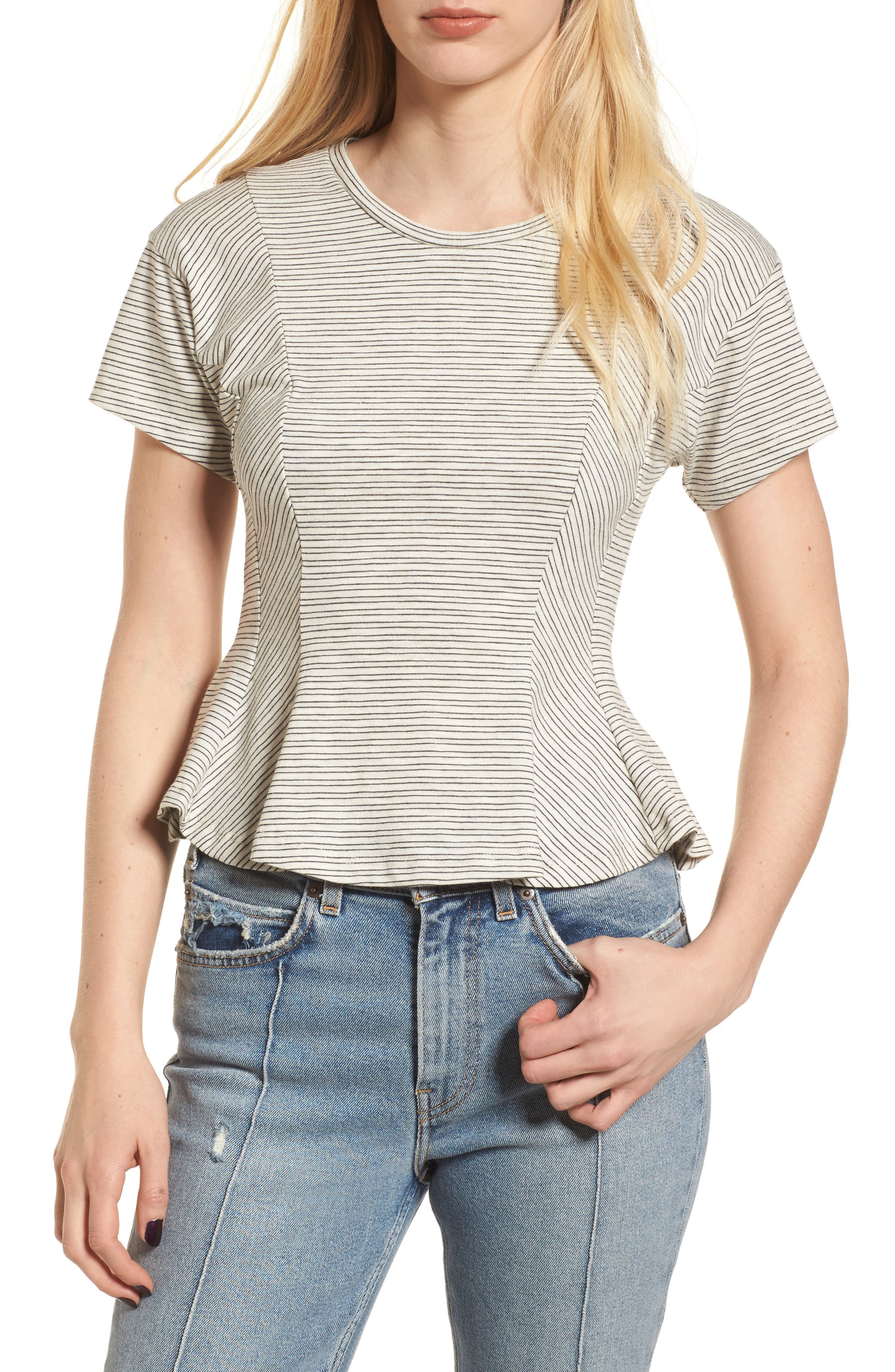 Stripe Peplum Tee,                             Main thumbnail 1, color,                             Ivory-Black Stripes