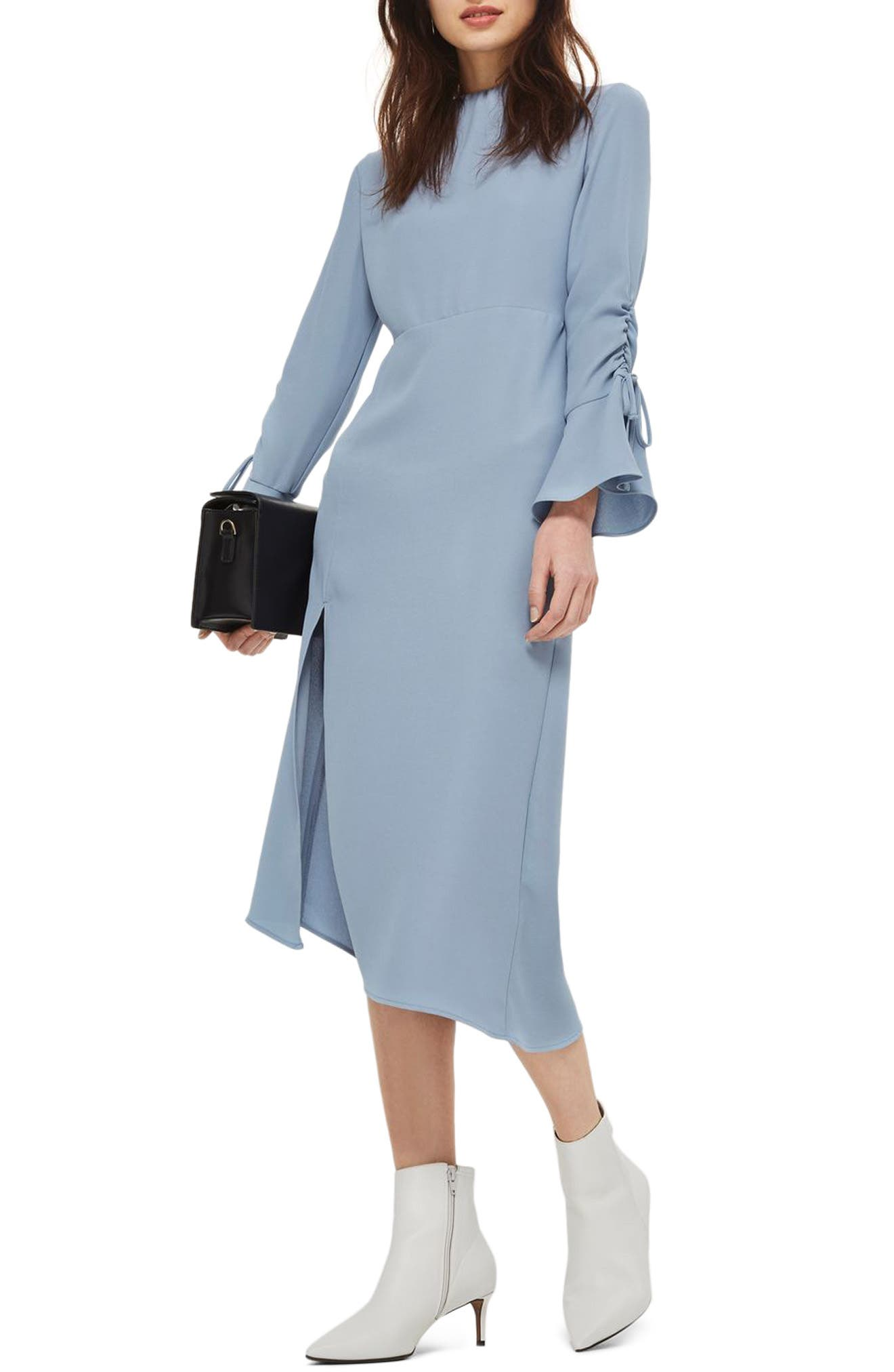 Ruched Asymmetrical Midi Dress,                         Main,                         color, Chambray