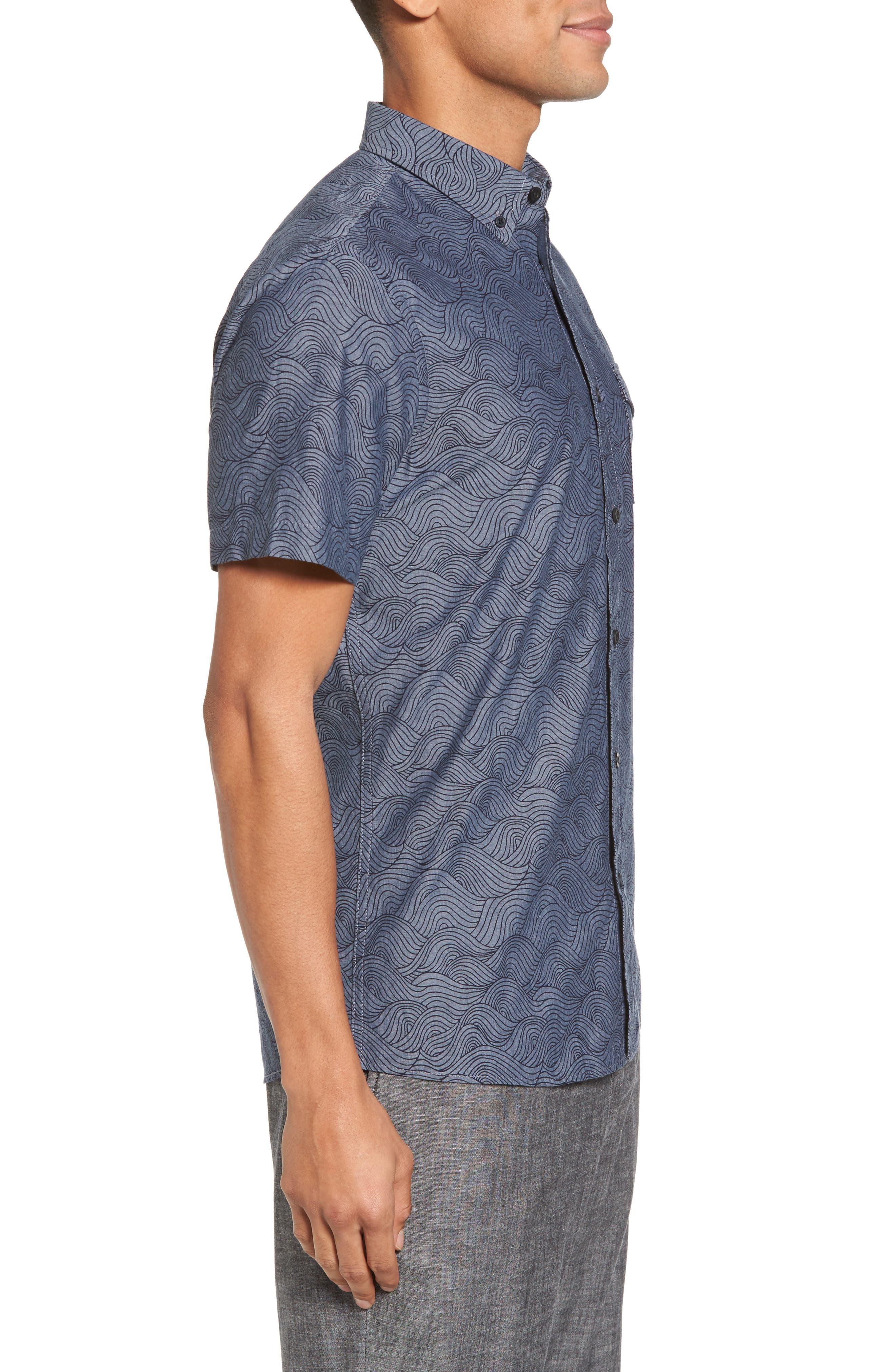 Trim Fit Ivy Print Sport Shirt,                             Alternate thumbnail 3, color,                             Grey Onyx Rolling Waves