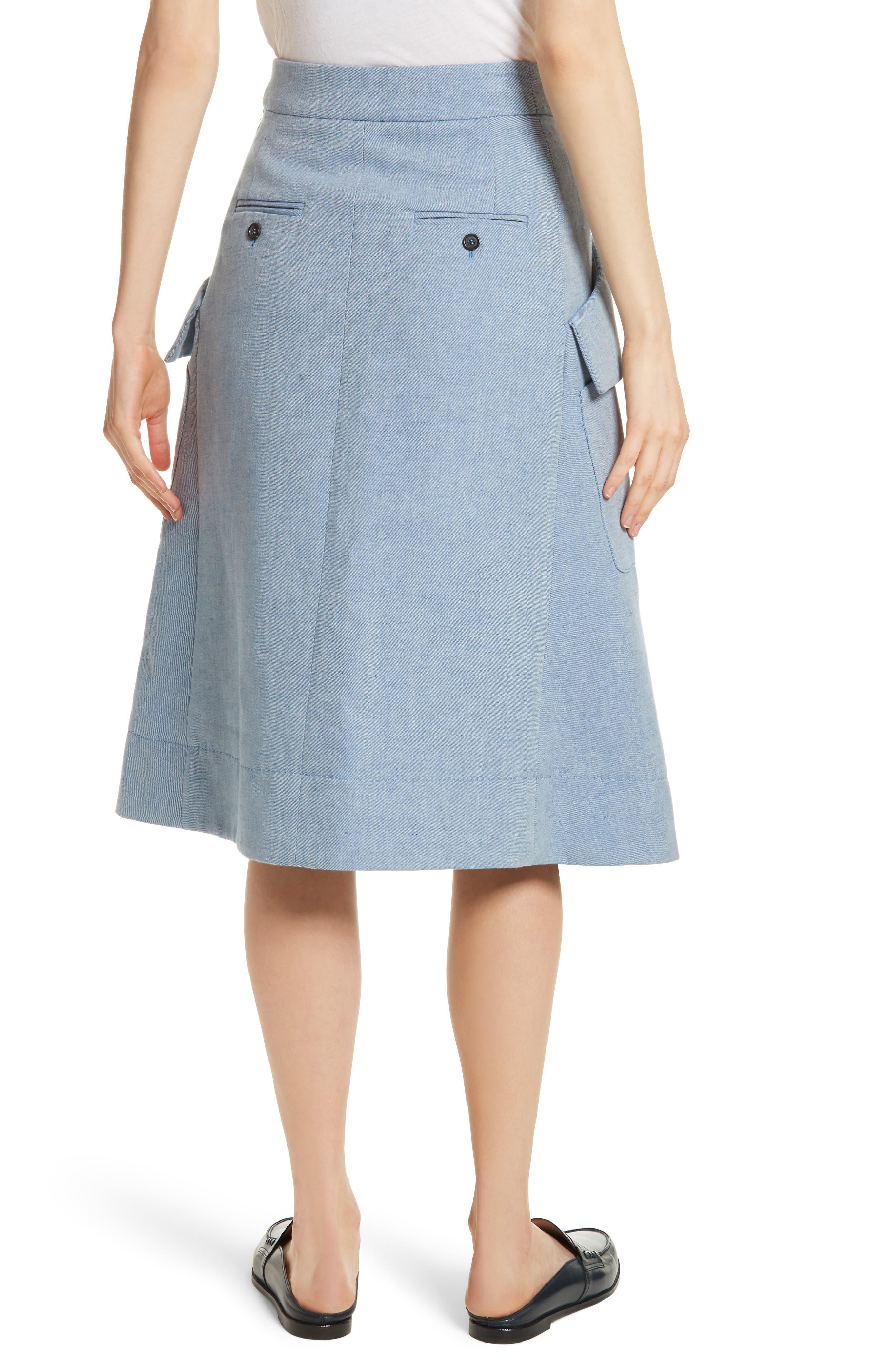 Jupe Genou Skirt,                             Alternate thumbnail 2, color,                             Bleu Acier