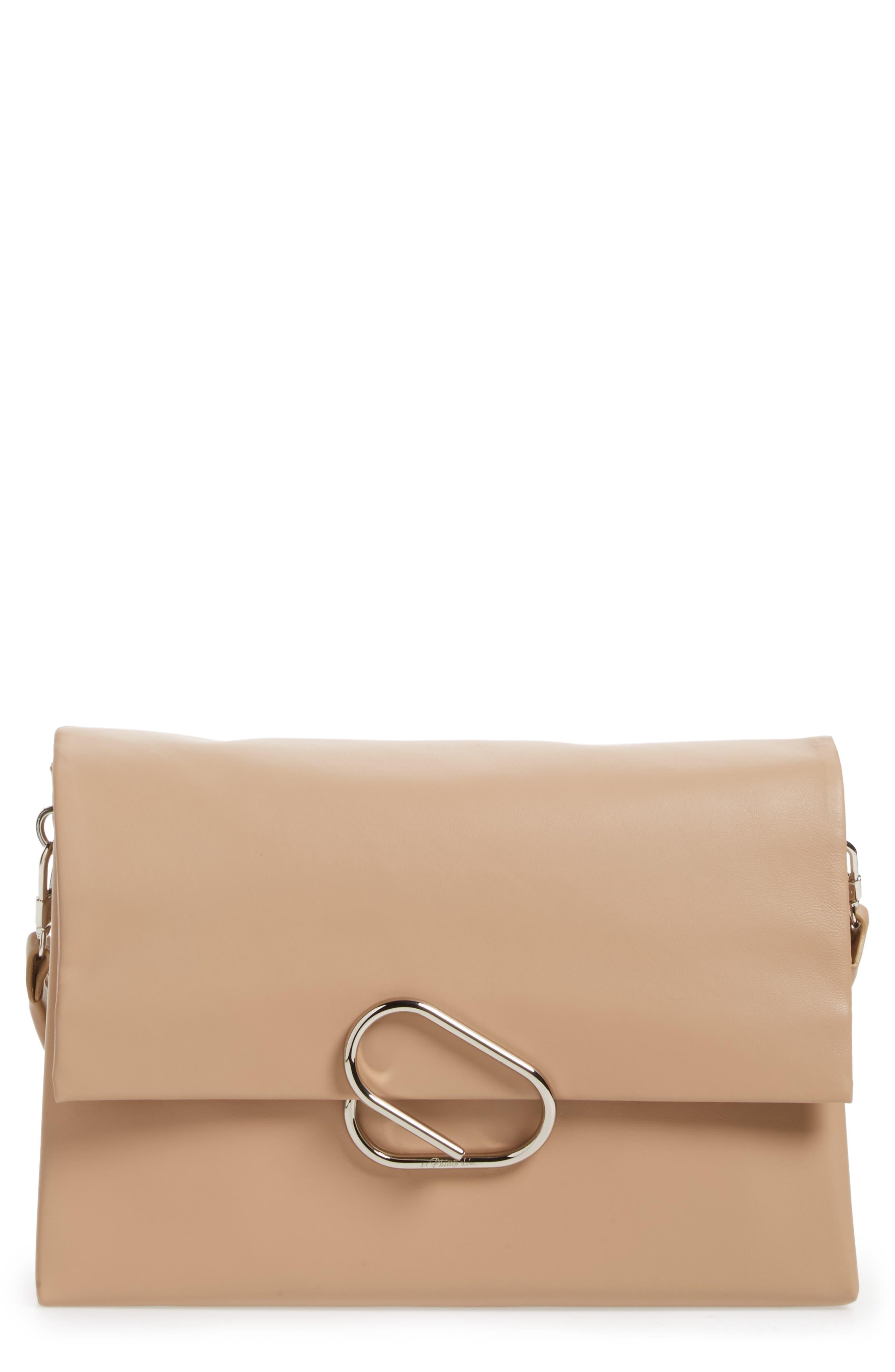 Oversized Alix Flap Leather Shoulder Bag,                         Main,                         color, Fawn