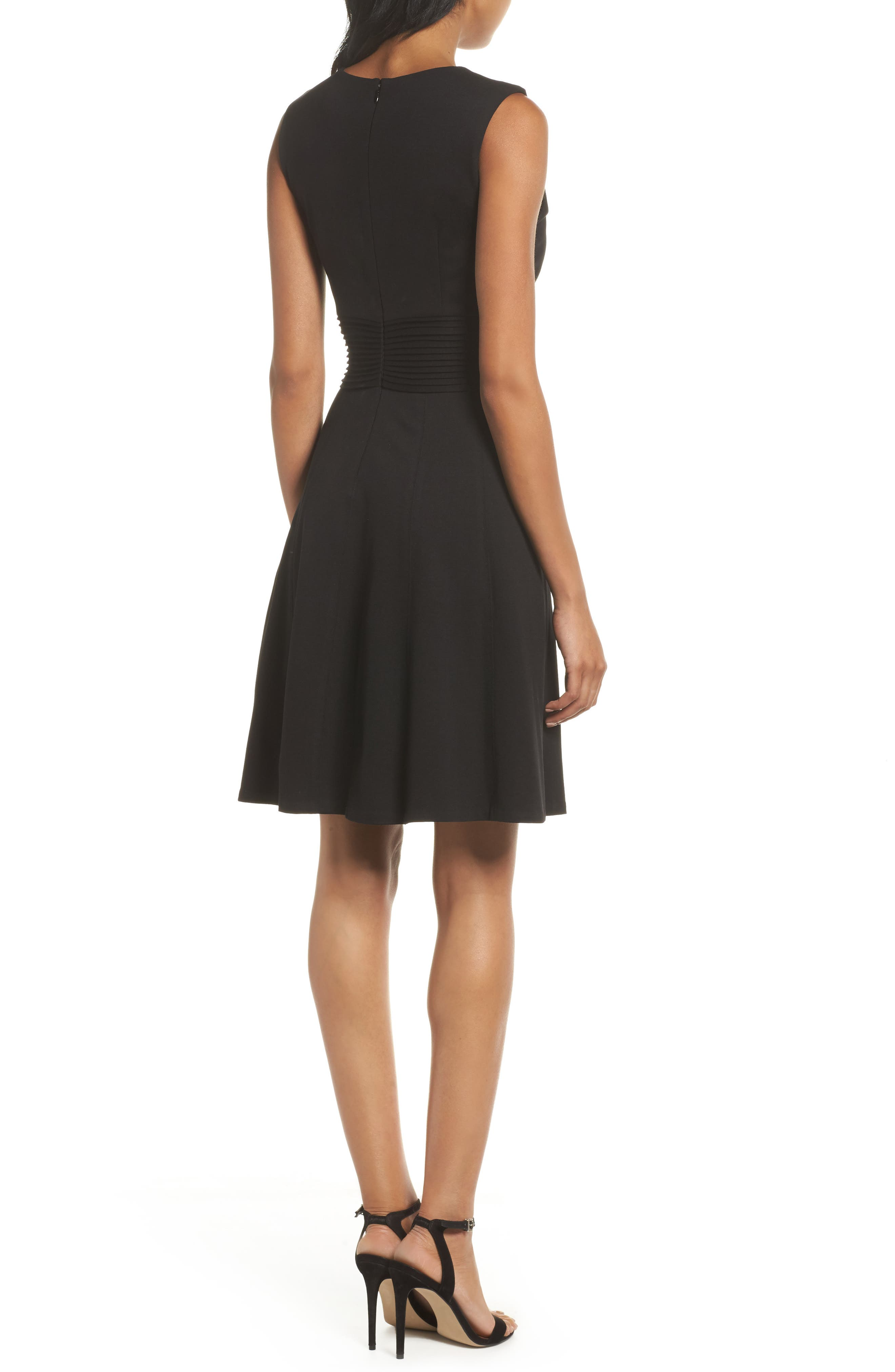 Pintuck Fit & Flare Dress,                             Alternate thumbnail 2, color,                             Black
