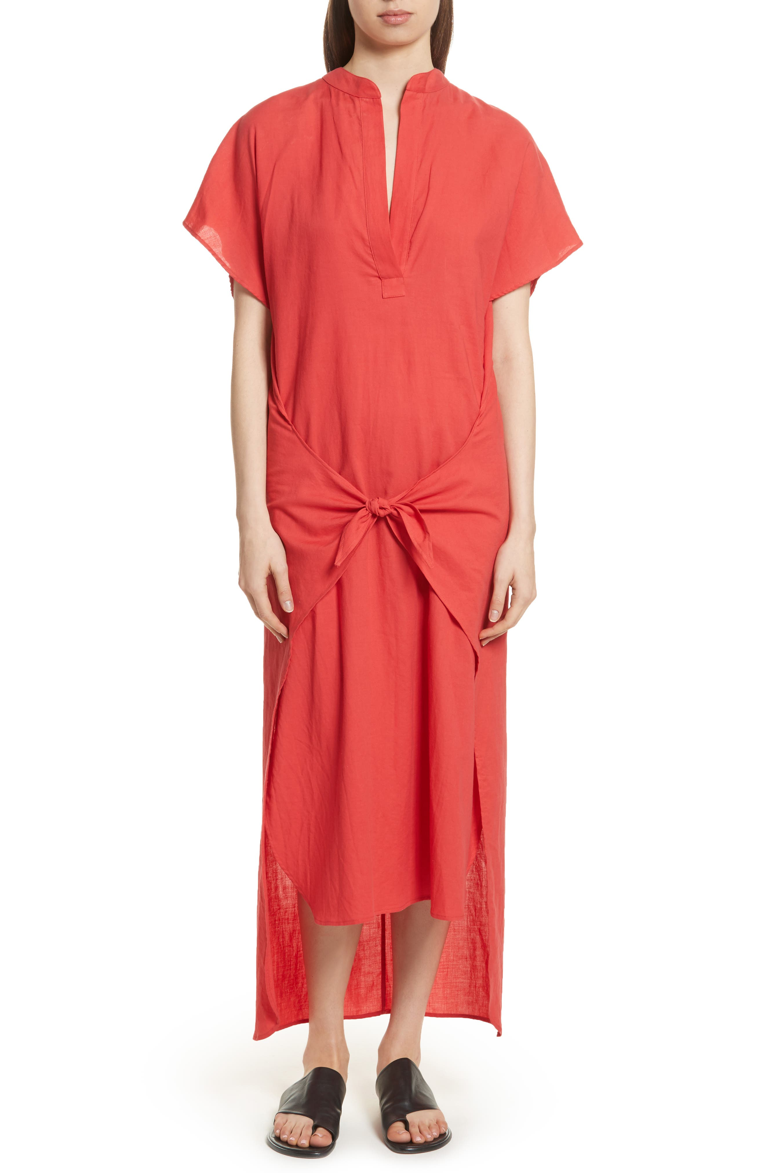 Wrap Front Maxi Dress,                         Main,                         color, Poppy