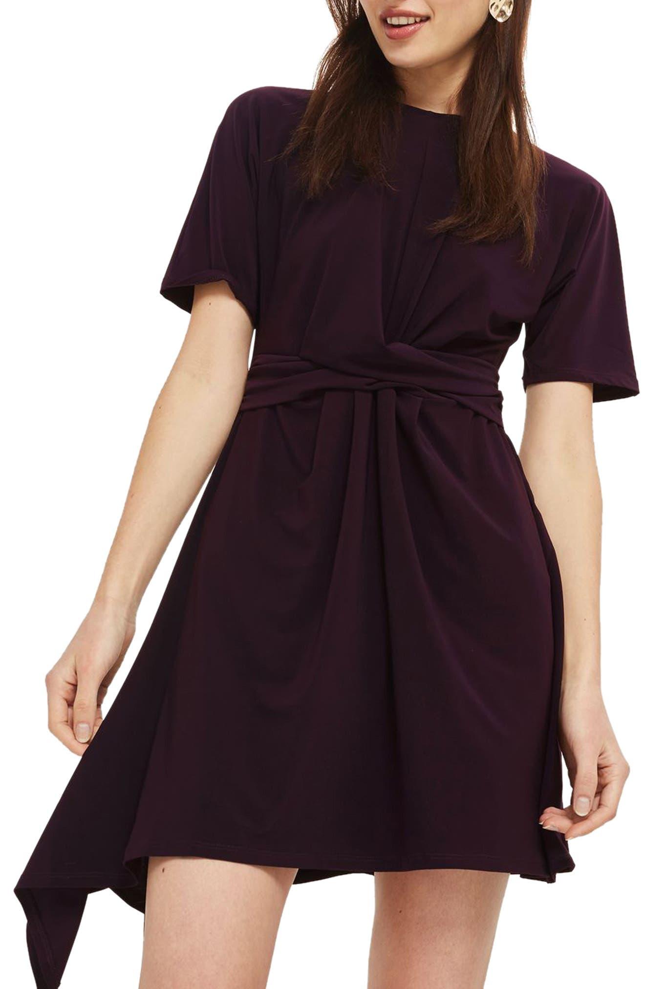Gathered Asymmetrical Skater Dress,                         Main,                         color, Plum