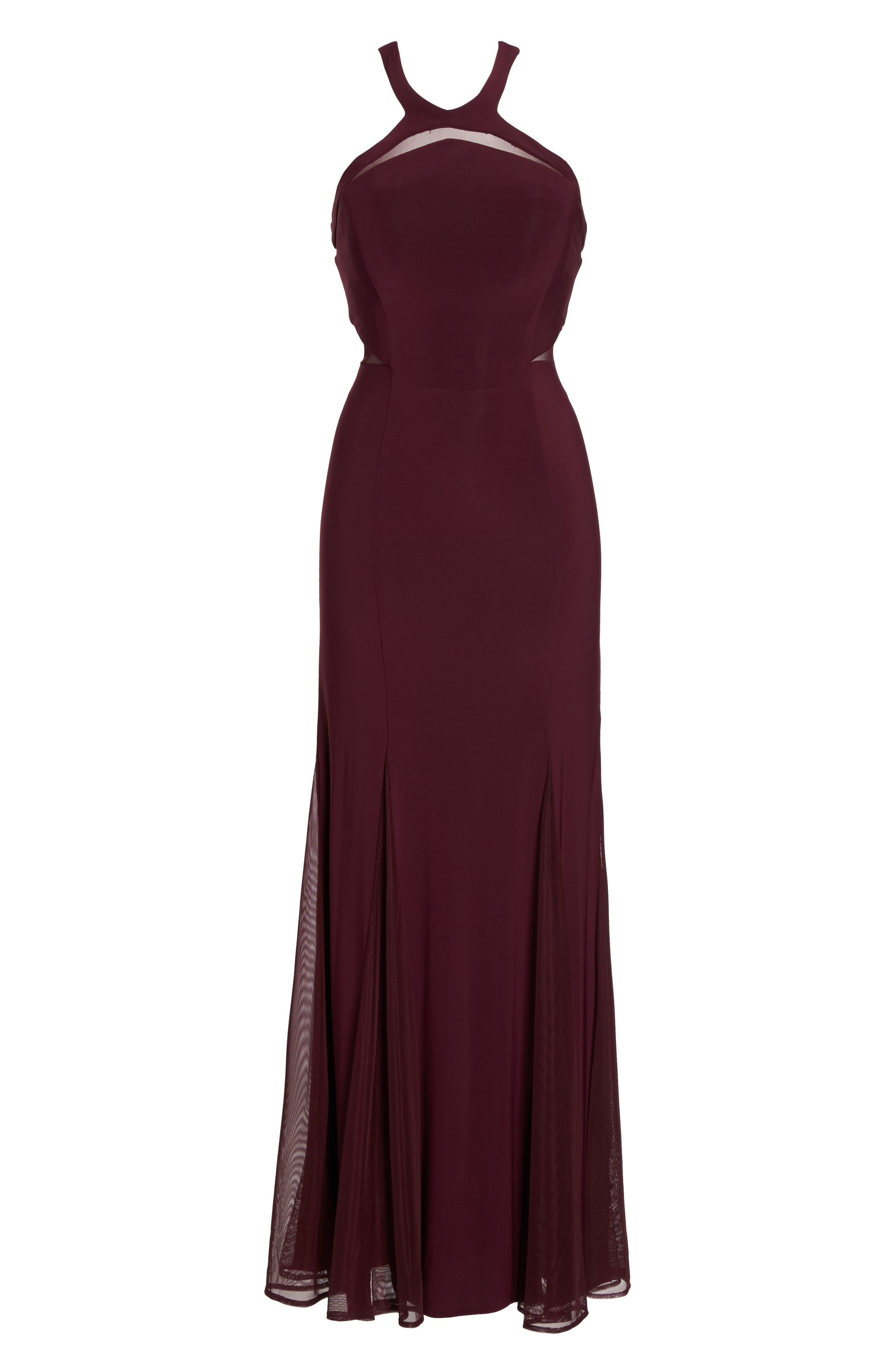 Mesh Inset Knit Mermaid Gown,                             Alternate thumbnail 6, color,                             Wine