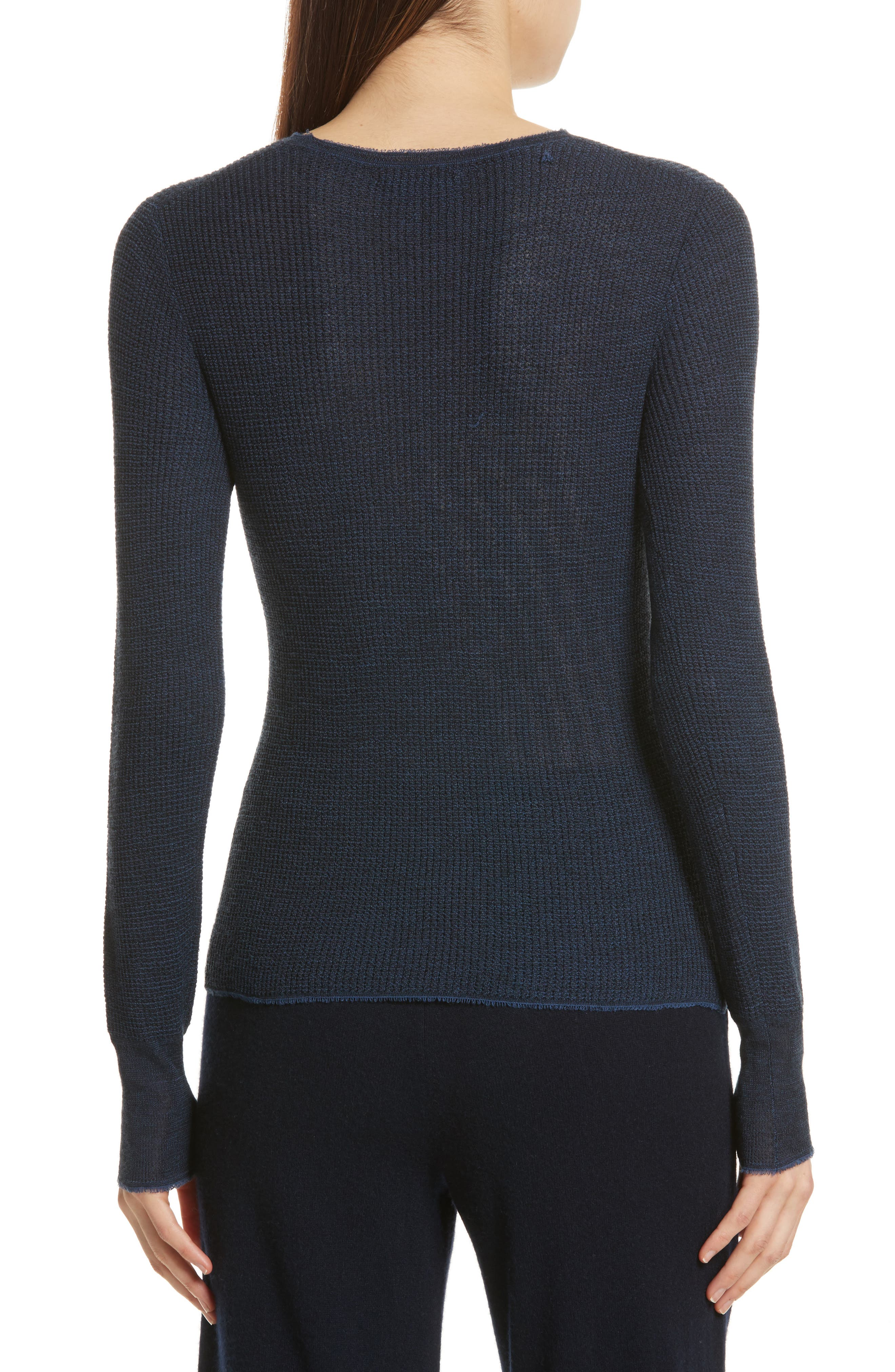 Waffle Knit Wool & Cashmere Top,                             Alternate thumbnail 2, color,                             Ink/ Black