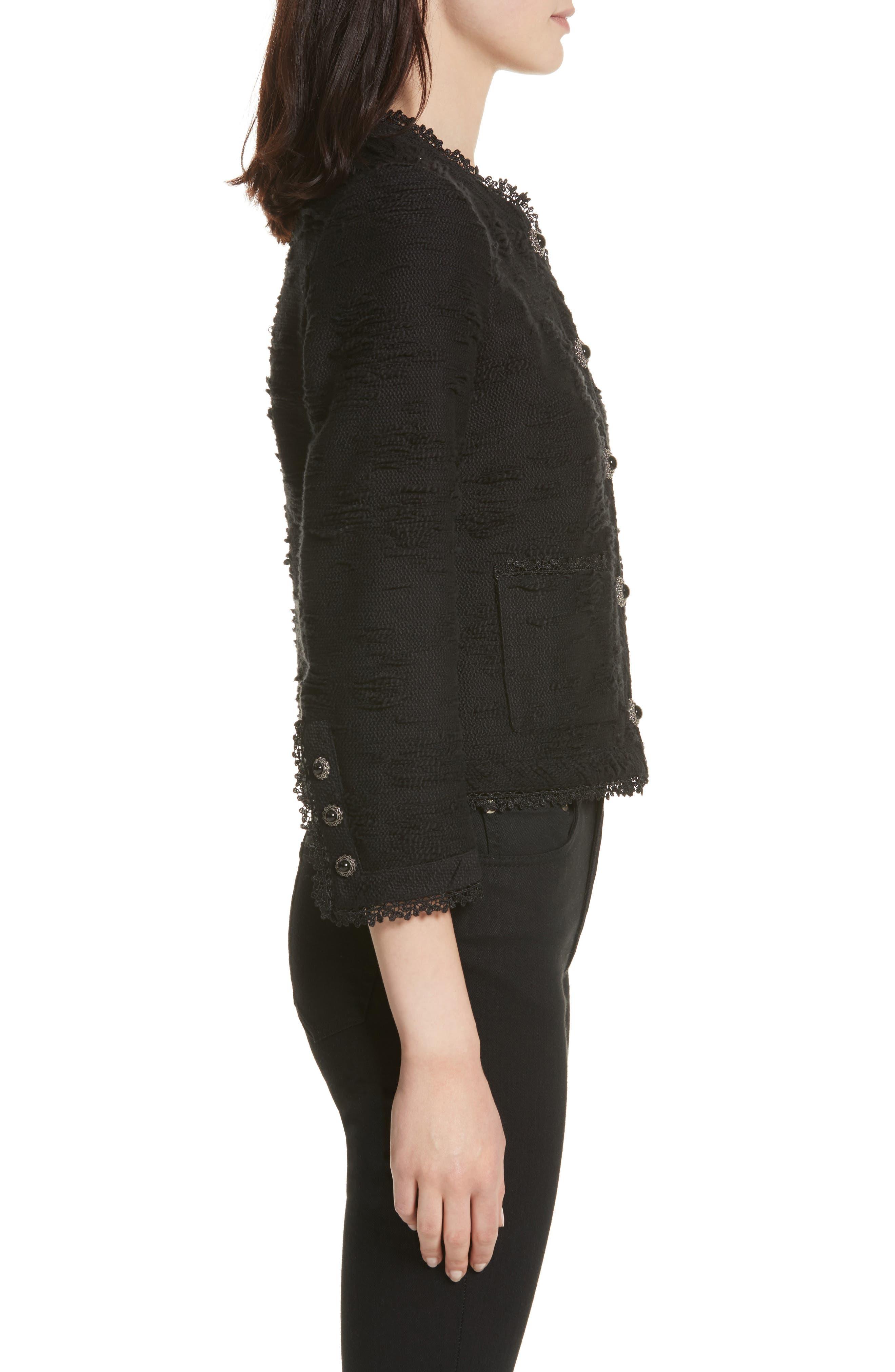 Lace Trim Boxy Jacket,                             Alternate thumbnail 3, color,                             Black