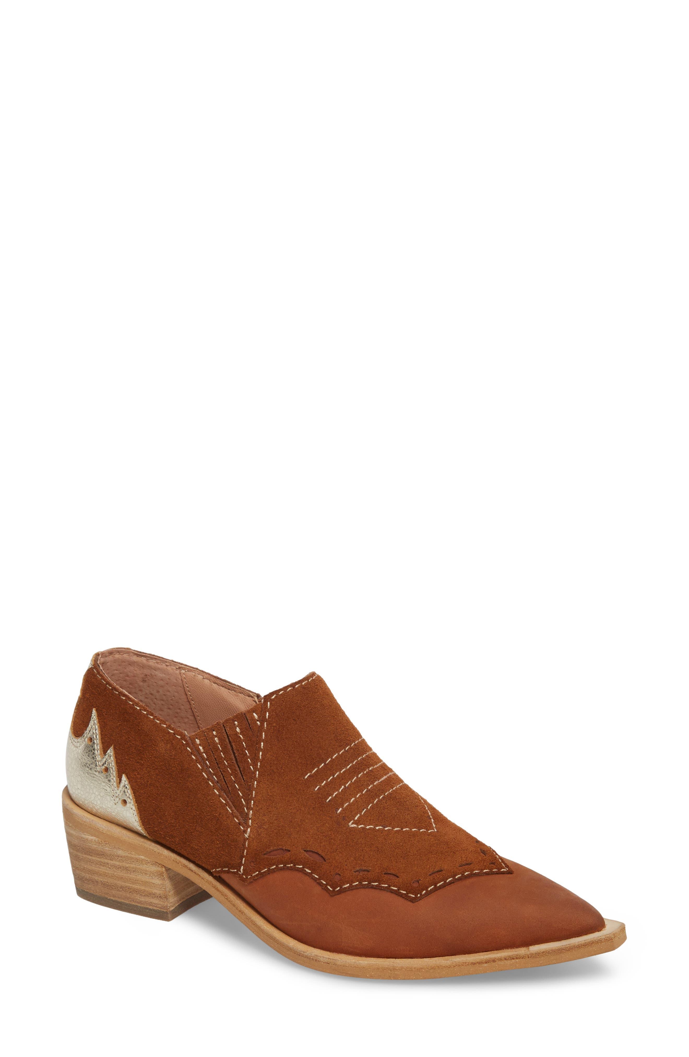 Warner Western Bootie,                             Main thumbnail 1, color,                             Brown/ Deep Maroon Leather