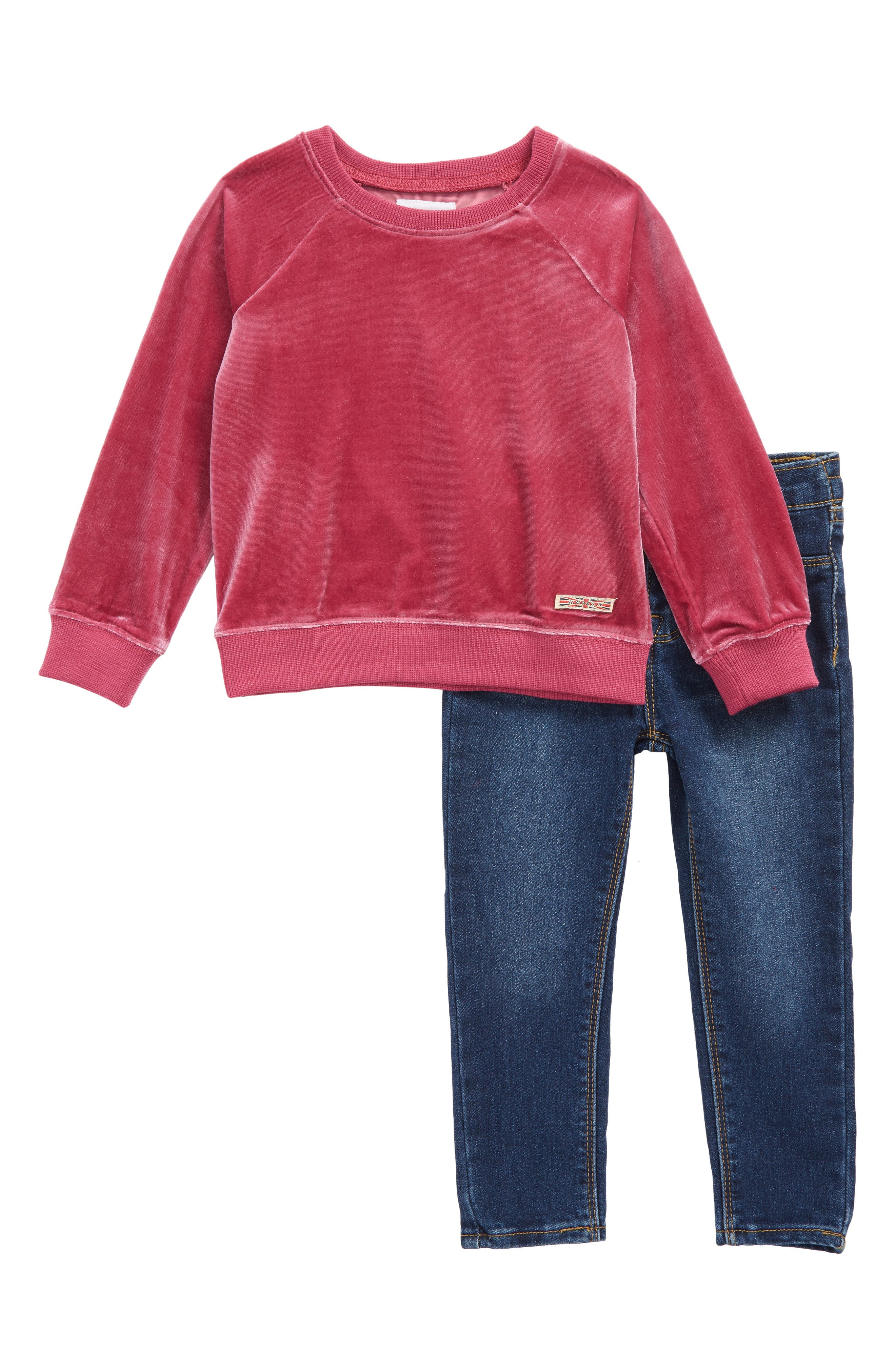 Hudson French Terry Sweatshirt & Jeans Set (Toddler Girls)