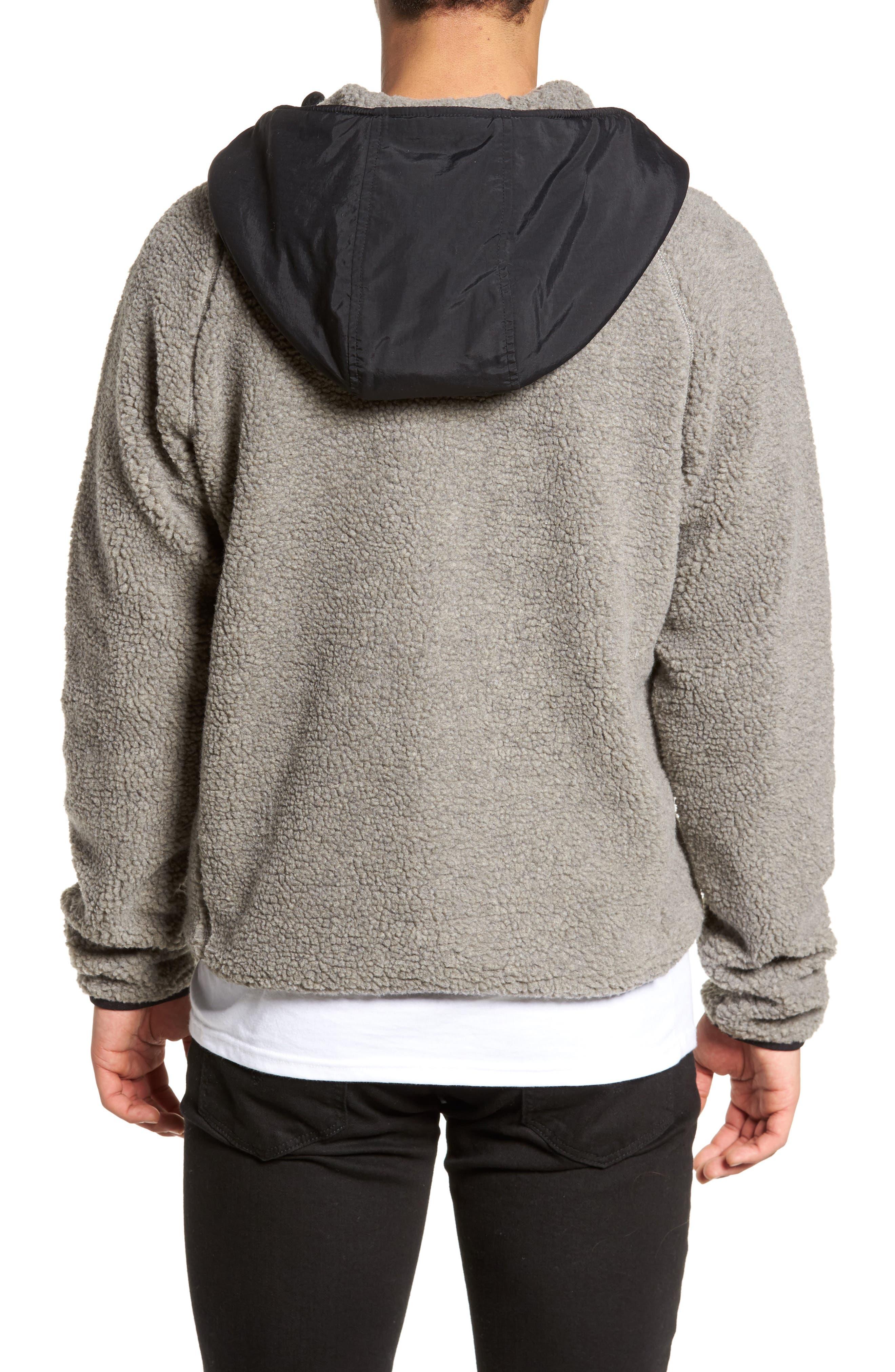 Vaughn Hooded Fleece Jacket,                             Alternate thumbnail 2, color,                             Grey