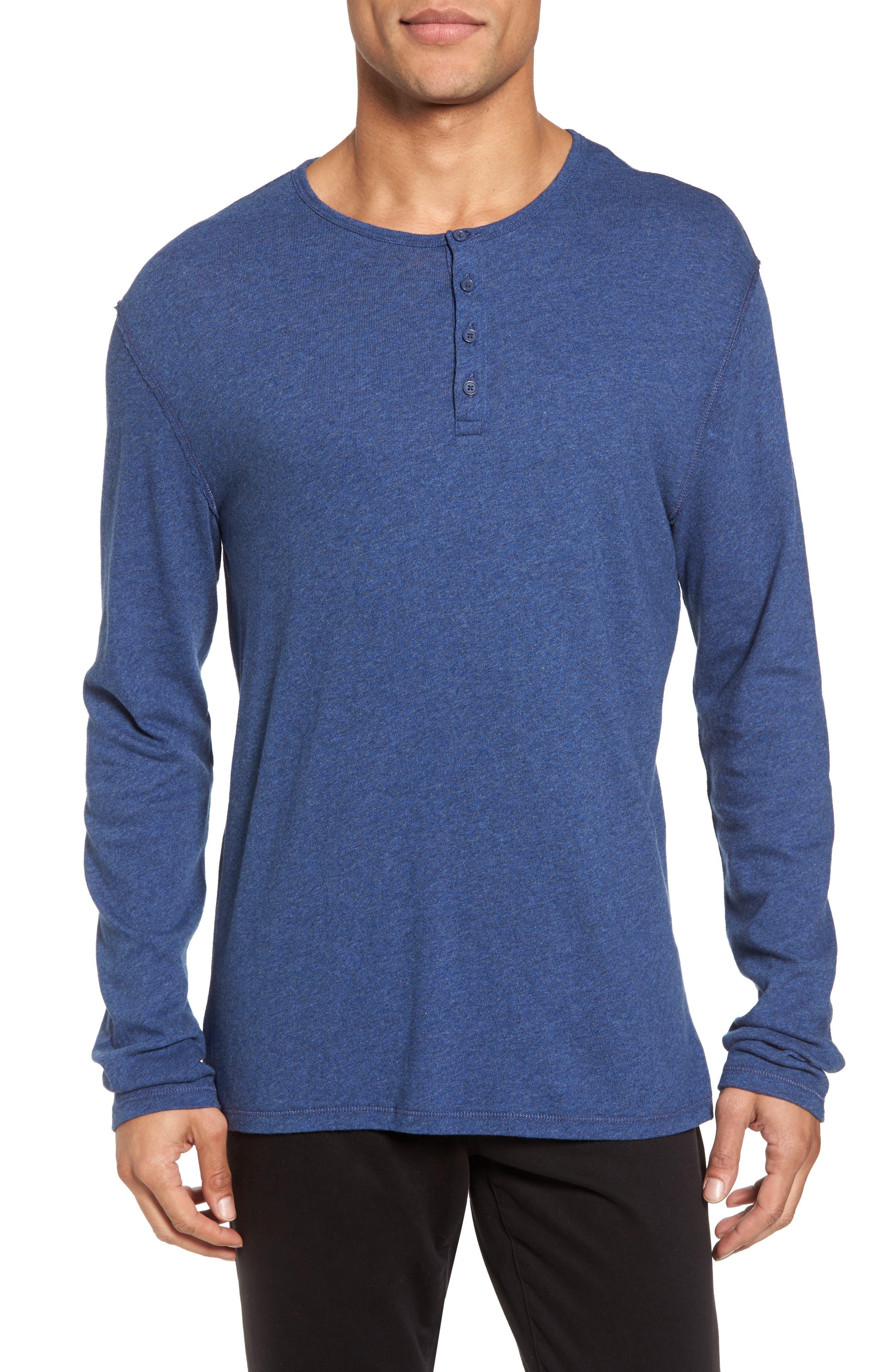 Vince Raw Edge Long Sleeve Henley T-Shirt