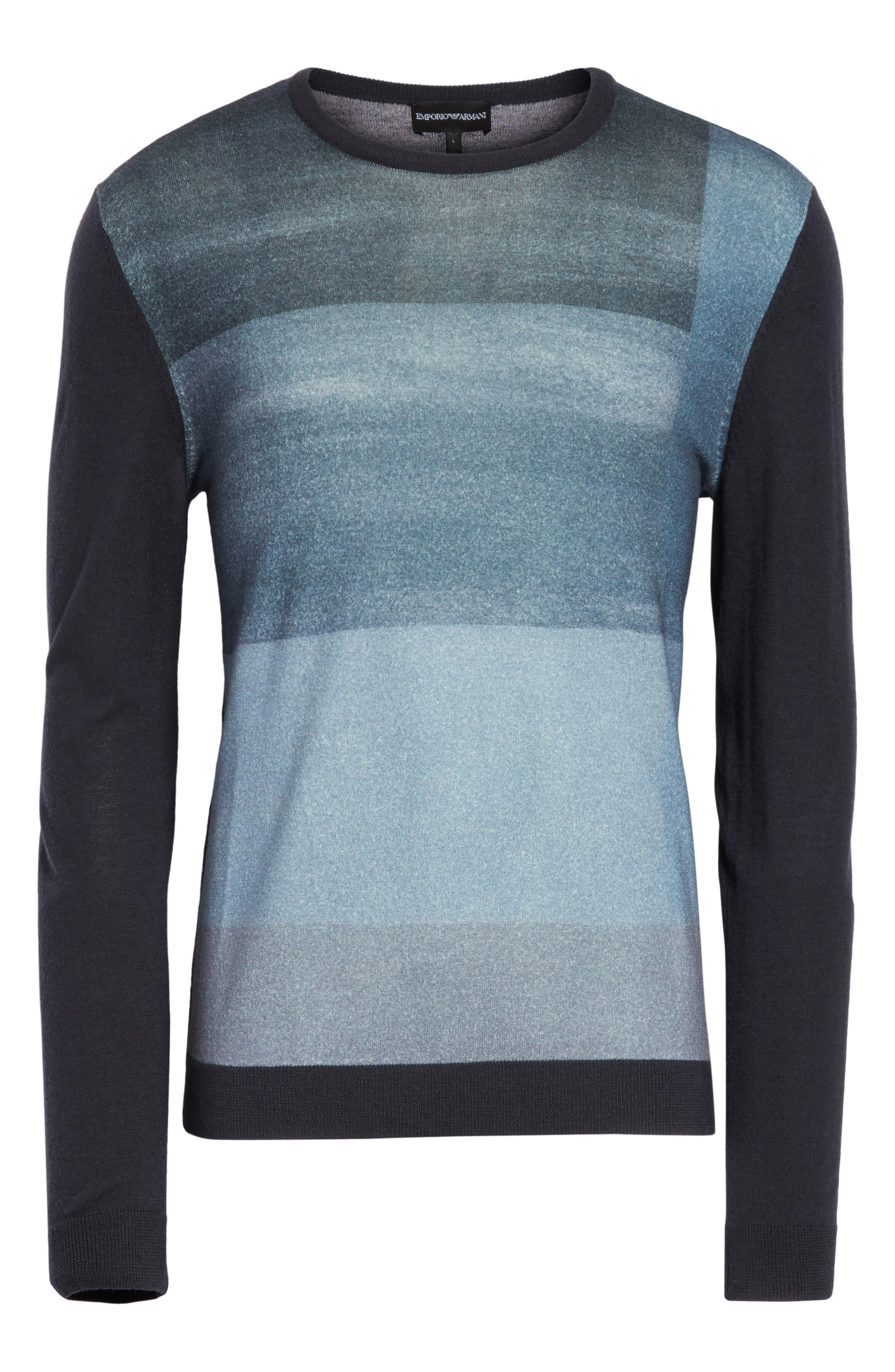 Crewneck Colorblock Slim Fit Sweater,                             Alternate thumbnail 6, color,                             Blue Multi