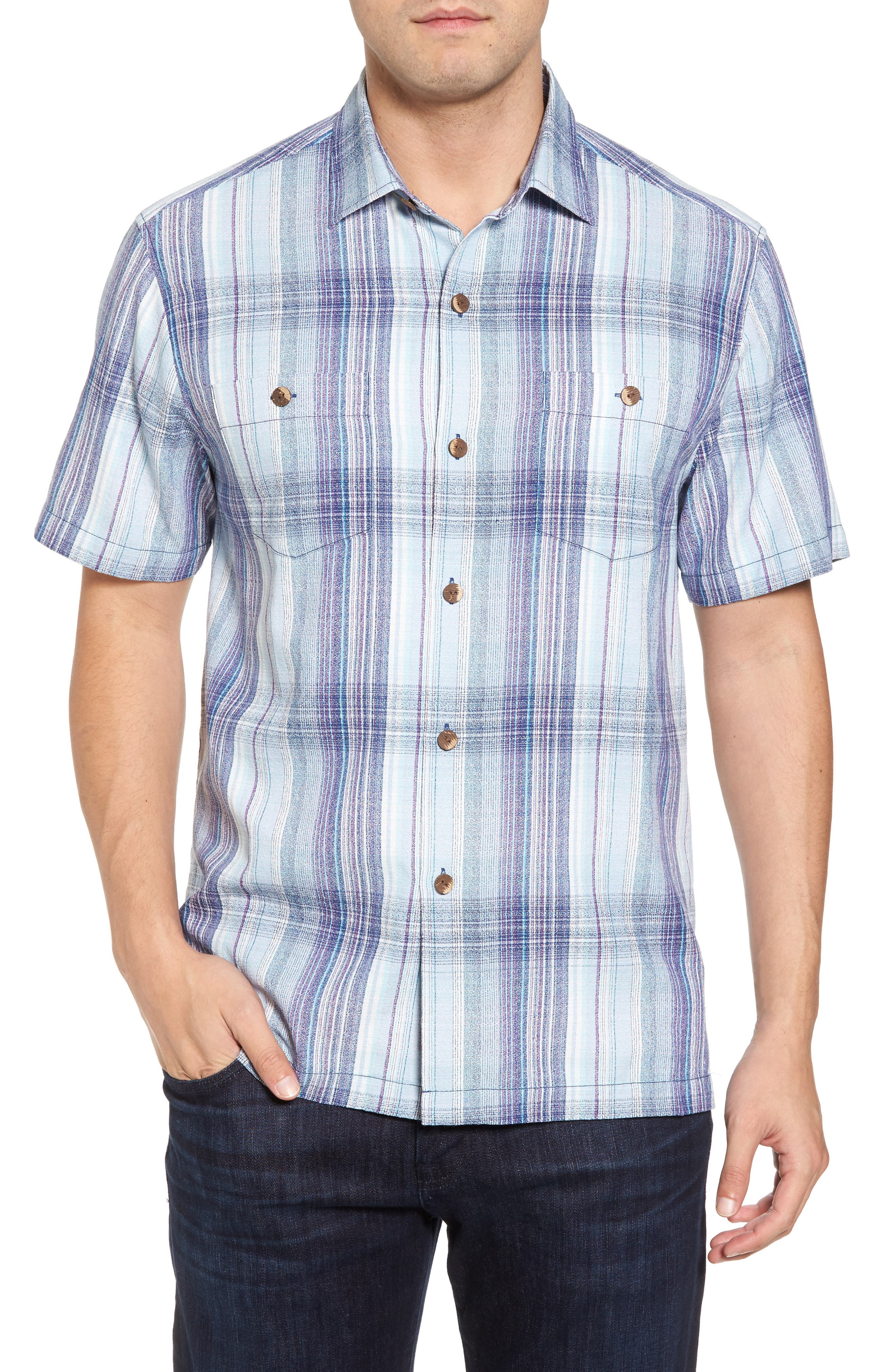 Banyan Cay Plaid Silk Blend Camp Shirt,                             Main thumbnail 1, color,                             Dockside Blue