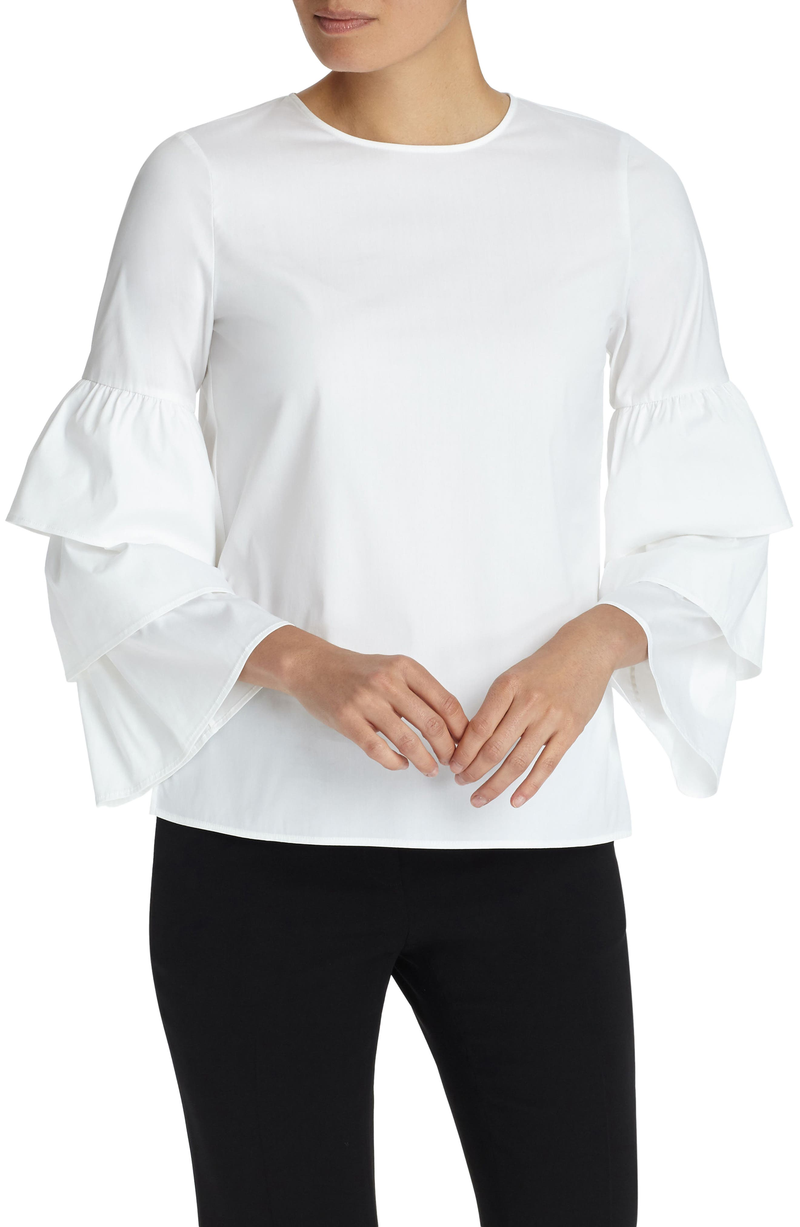 Lafayette 148 New York Revina Stretch Cotton Blend Blouse