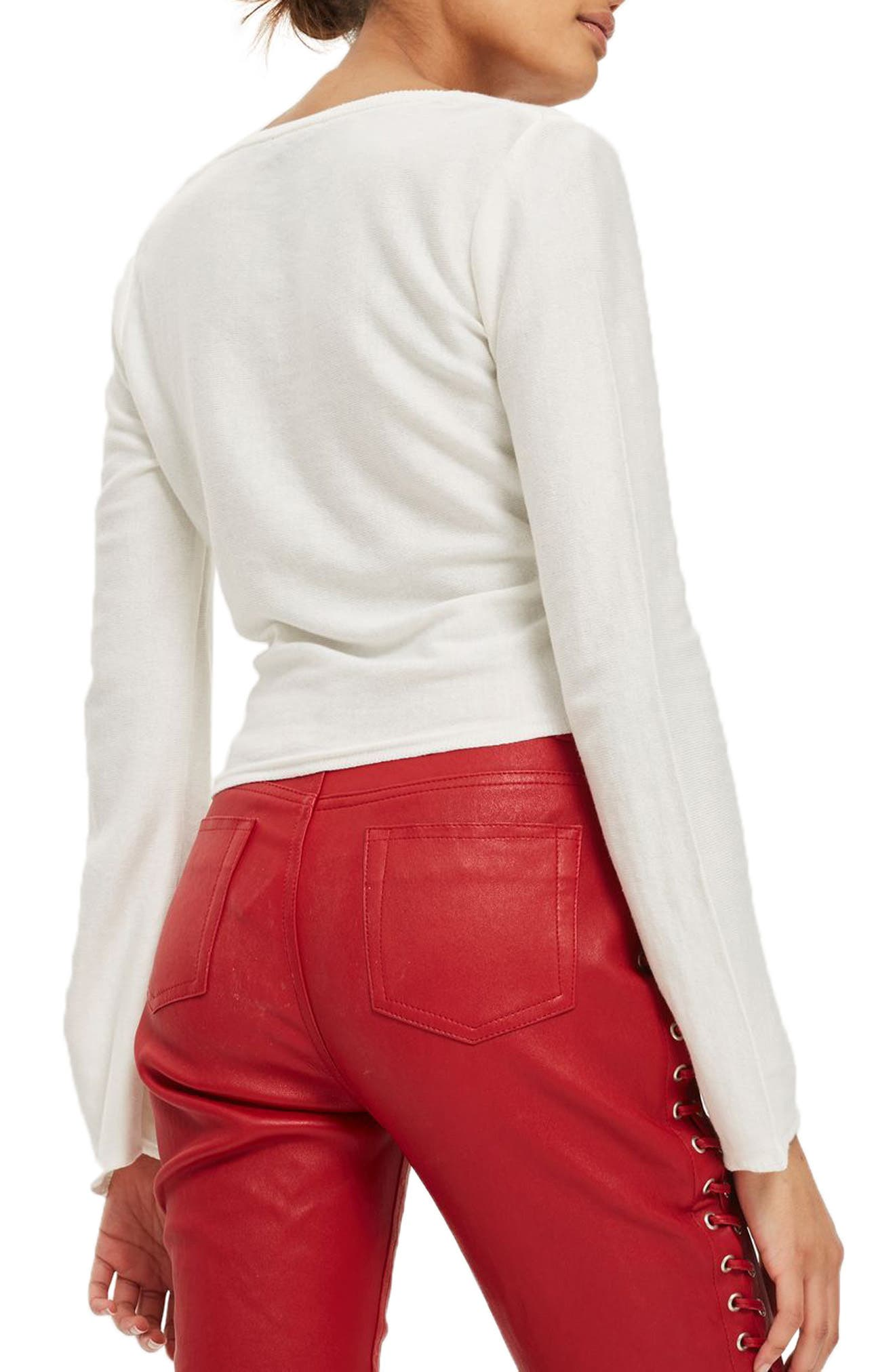 Knotted Wrap Top,                             Alternate thumbnail 2, color,                             Ivory