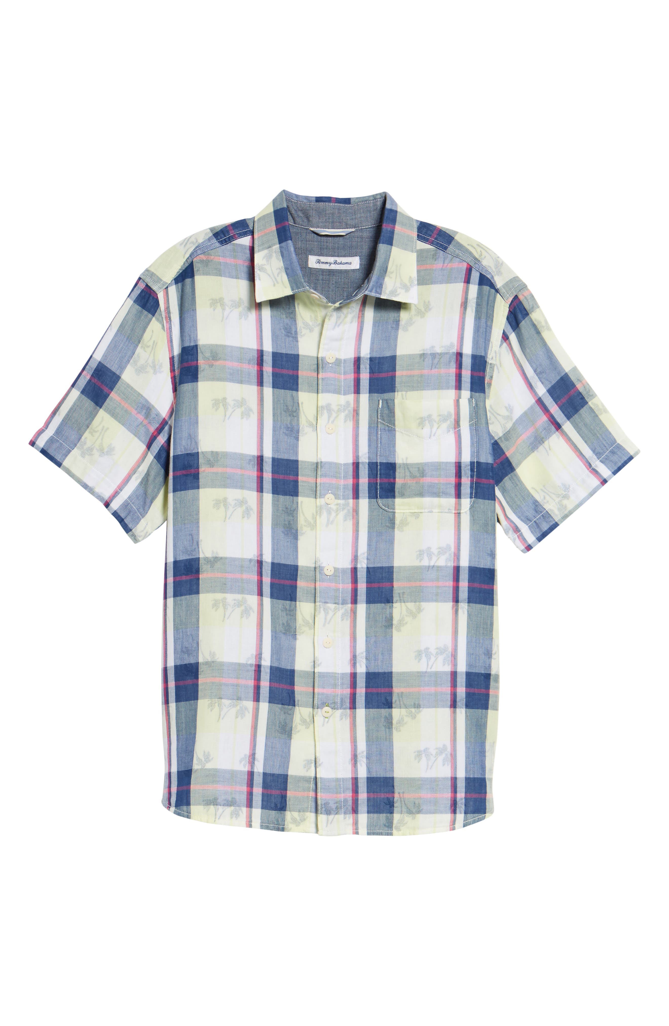 Double Flora Plaid Cotton Camp Shirt,                             Alternate thumbnail 6, color,                             Kingdom Blue