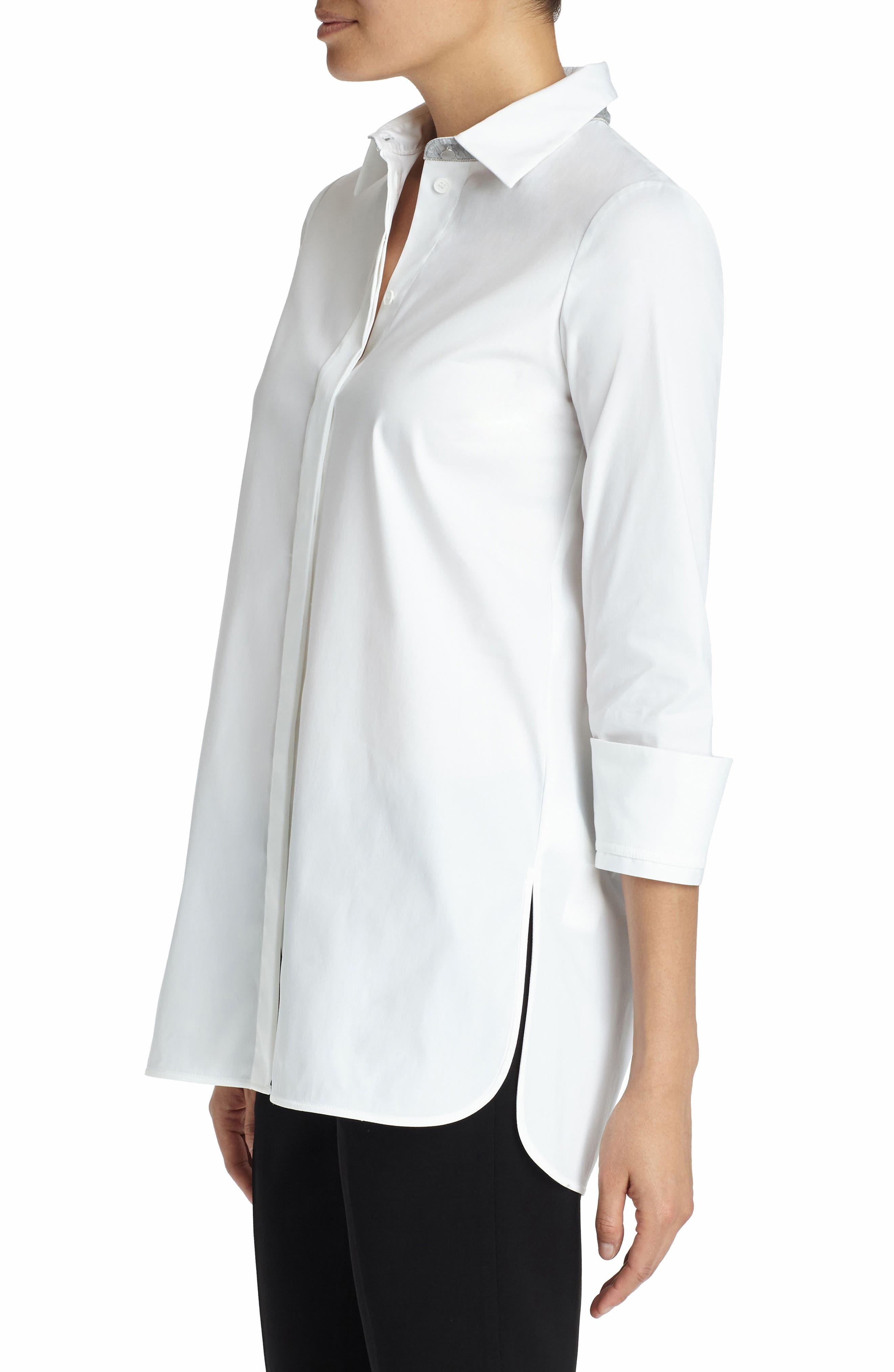Augusta Stretch Cotton Shirt,                             Alternate thumbnail 4, color,                             White