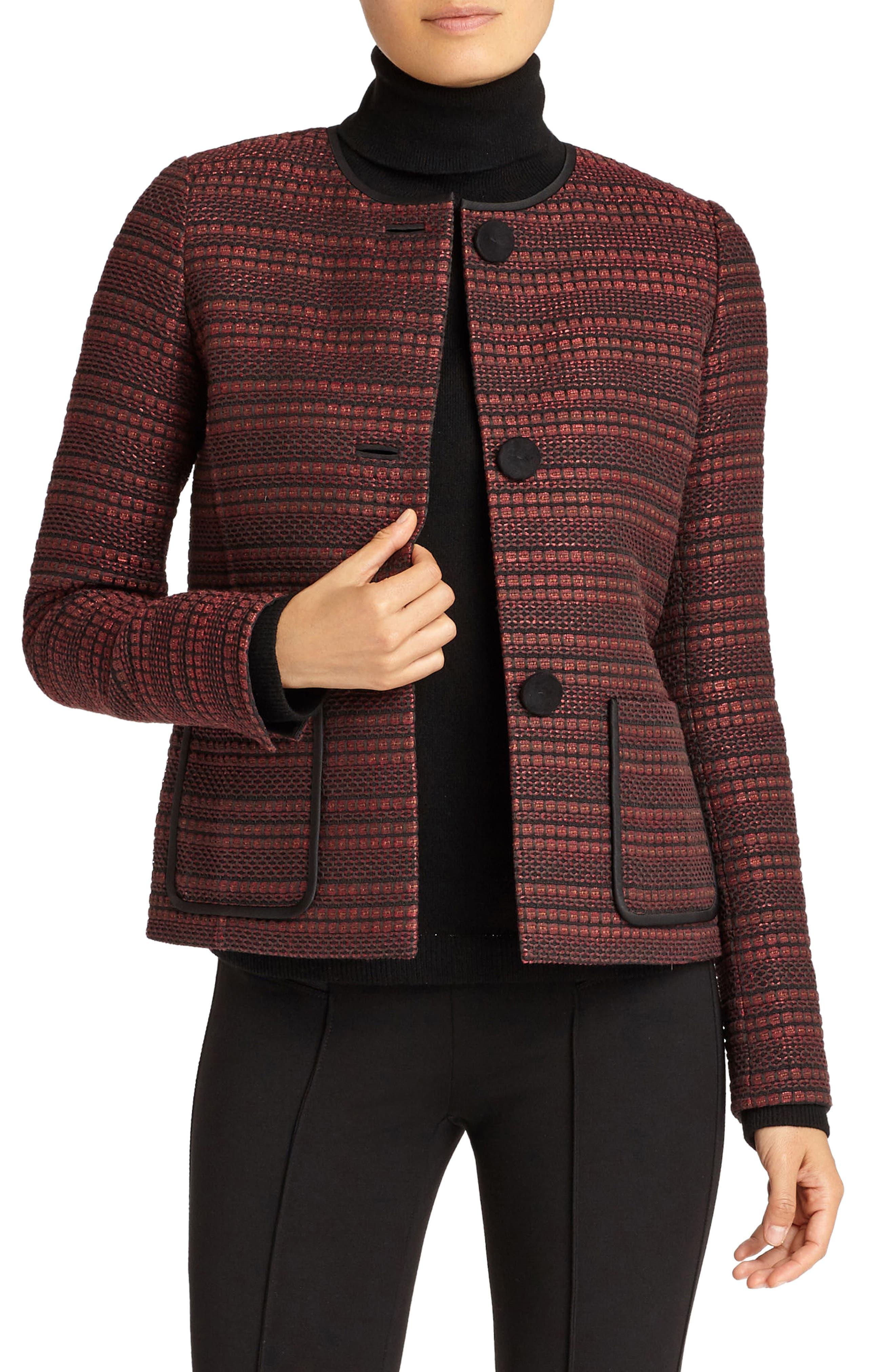 Laurence Venetian Tweed Jacket,                             Alternate thumbnail 4, color,                             Shiraz Multi
