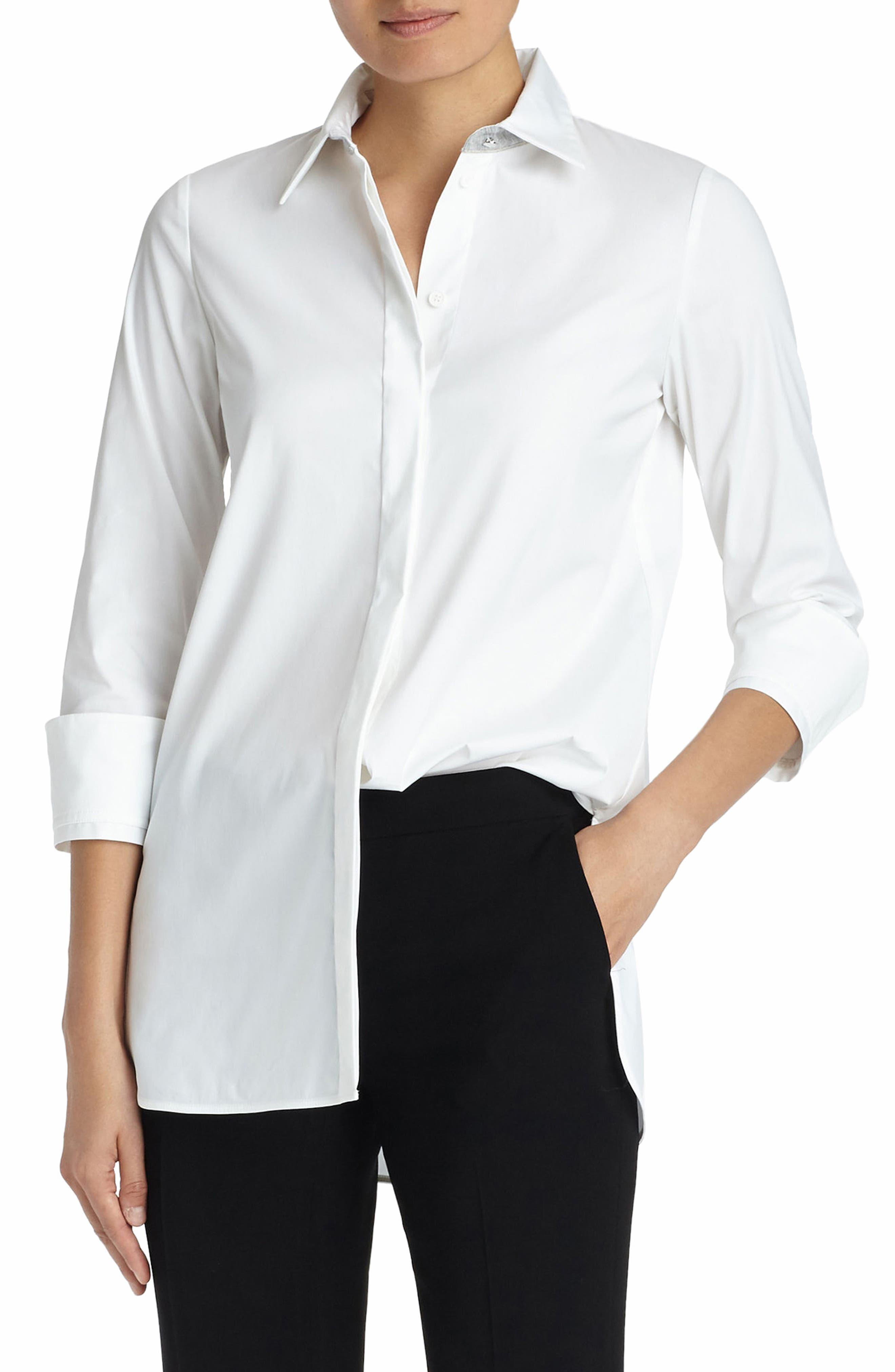 Augusta Stretch Cotton Shirt,                             Alternate thumbnail 3, color,                             White