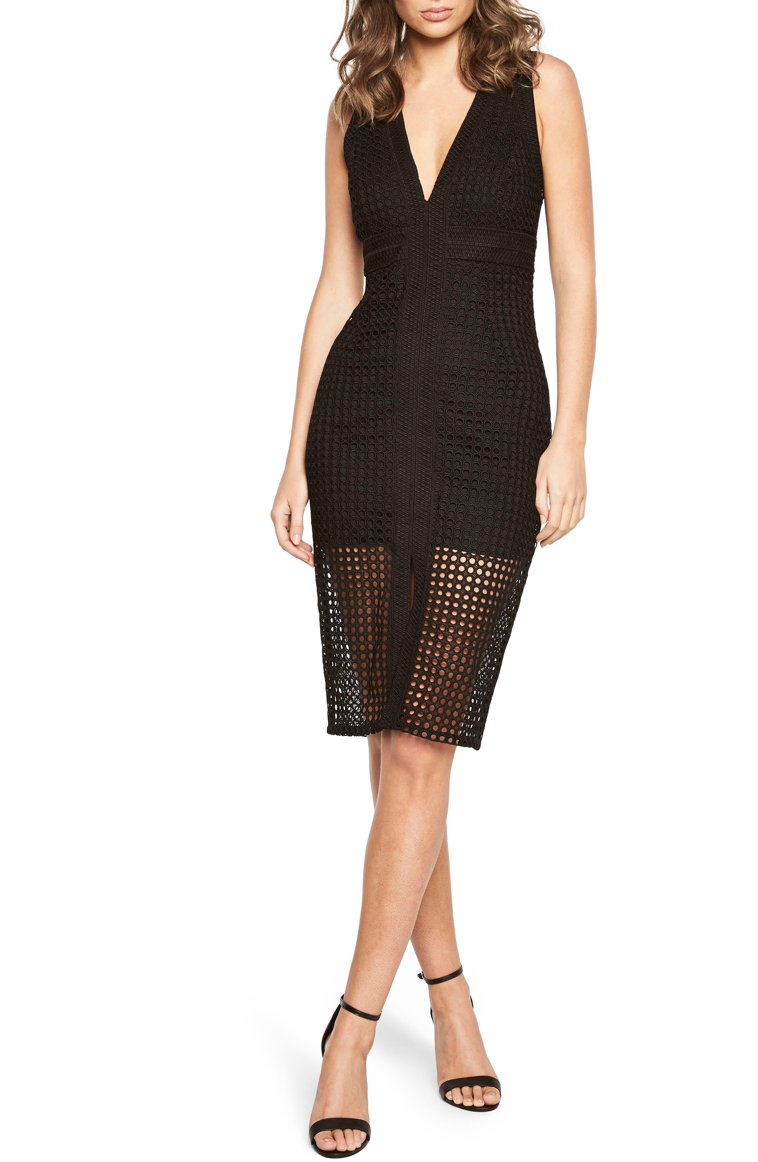 Layered Crochet Sheath Dress,                         Main,                         color, Black
