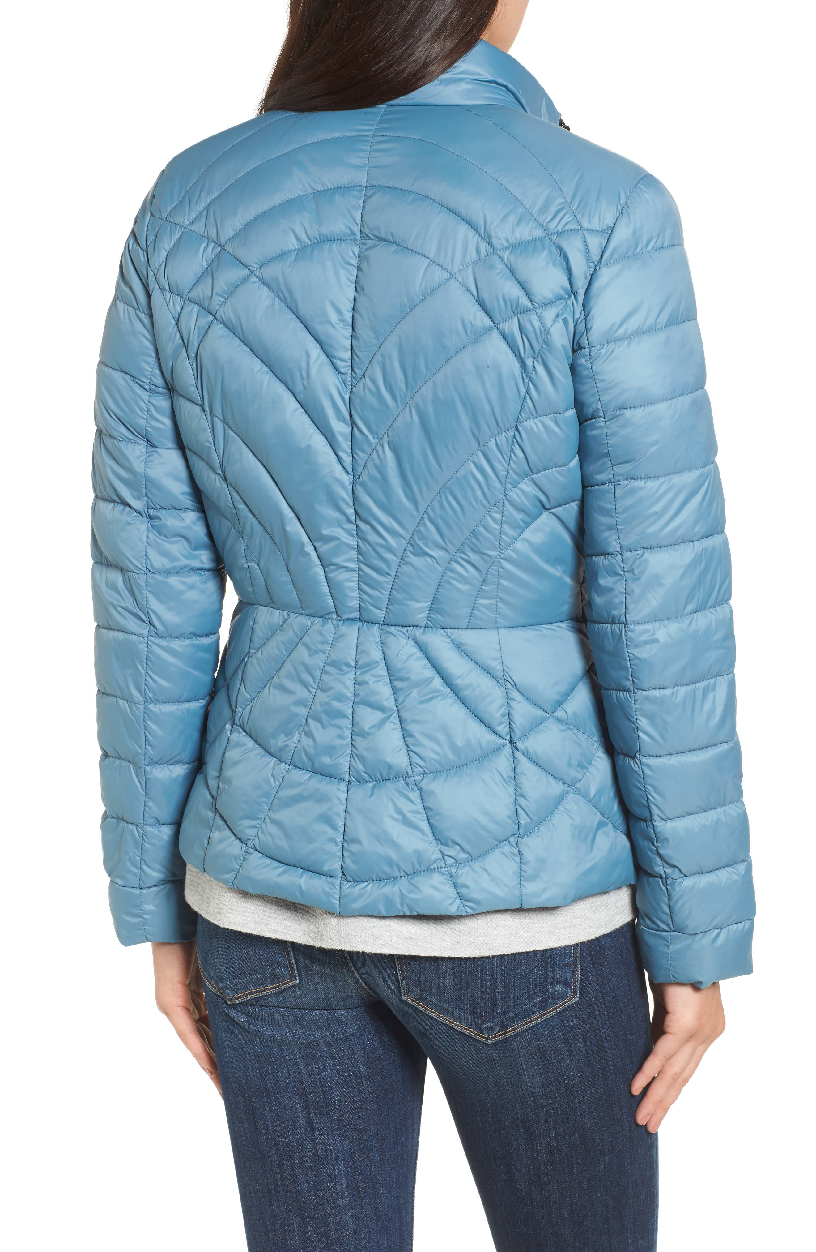 Sporty Water-Resistant Quilted Jacket,                             Alternate thumbnail 2, color,                             Aqua Blue