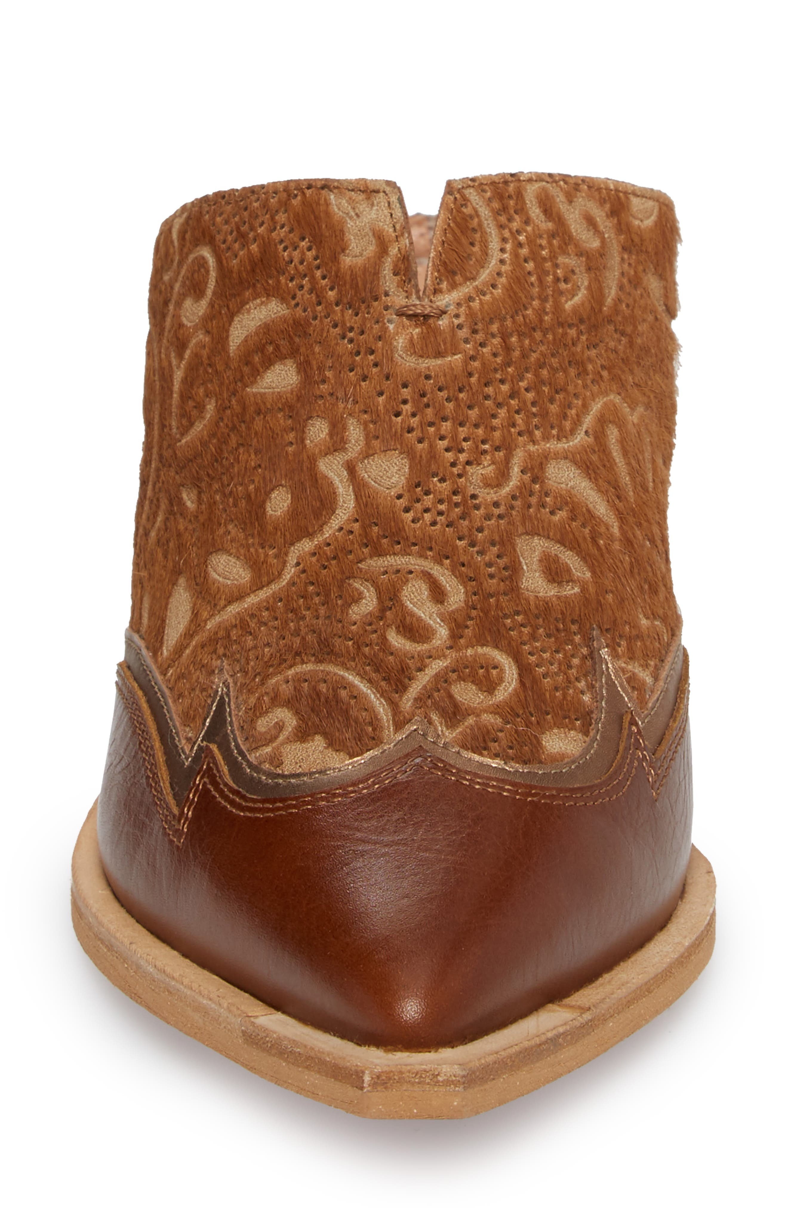 Waylon Genuine Calf Hair Western Mule,                             Alternate thumbnail 4, color,                             Camel Leather