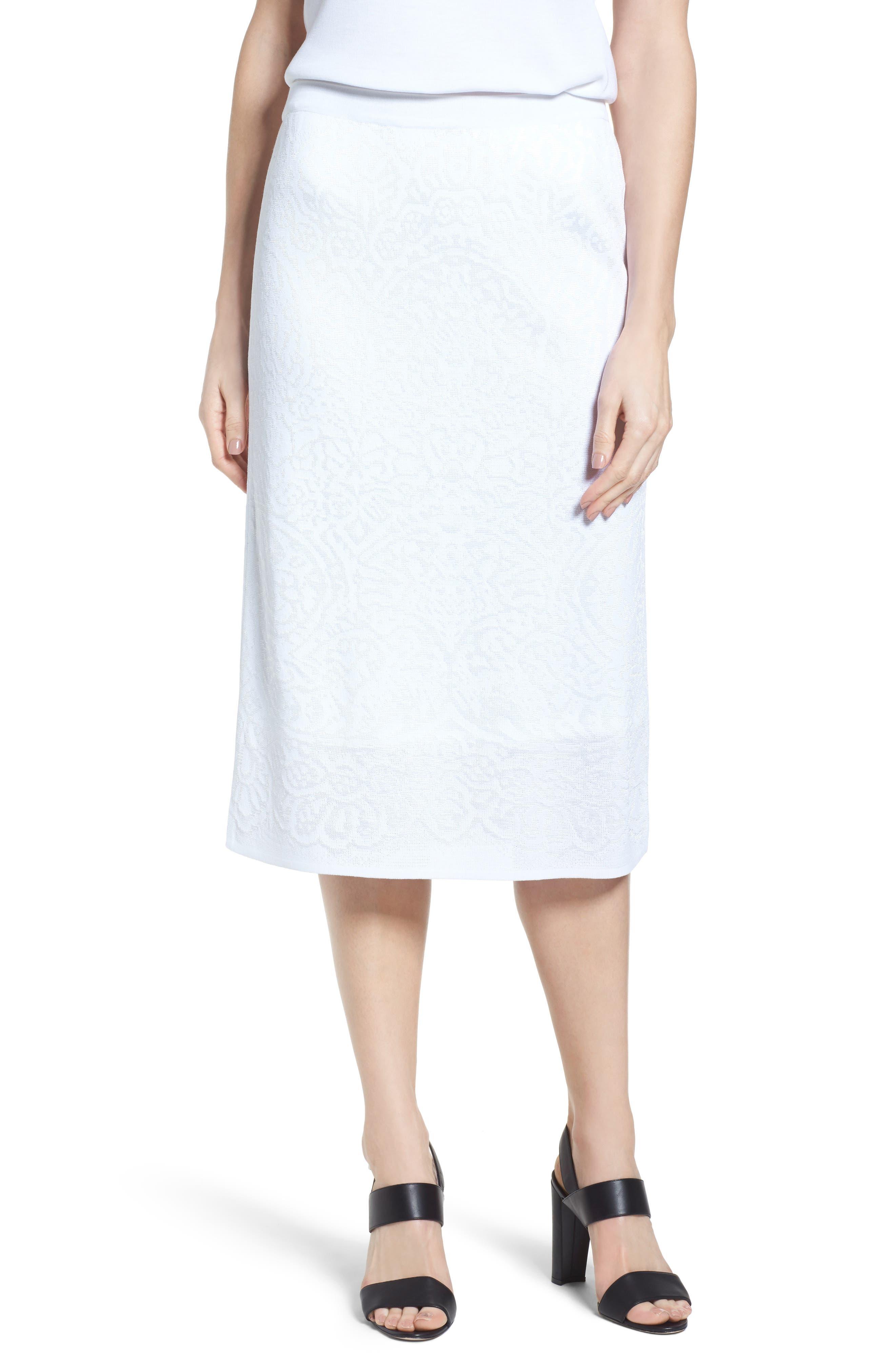 Jacquard Knit Straight Skirt,                         Main,                         color, White