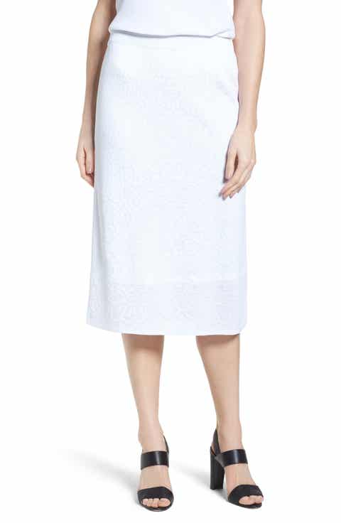 Ming Wang Jacquard Knit Straight Skirt