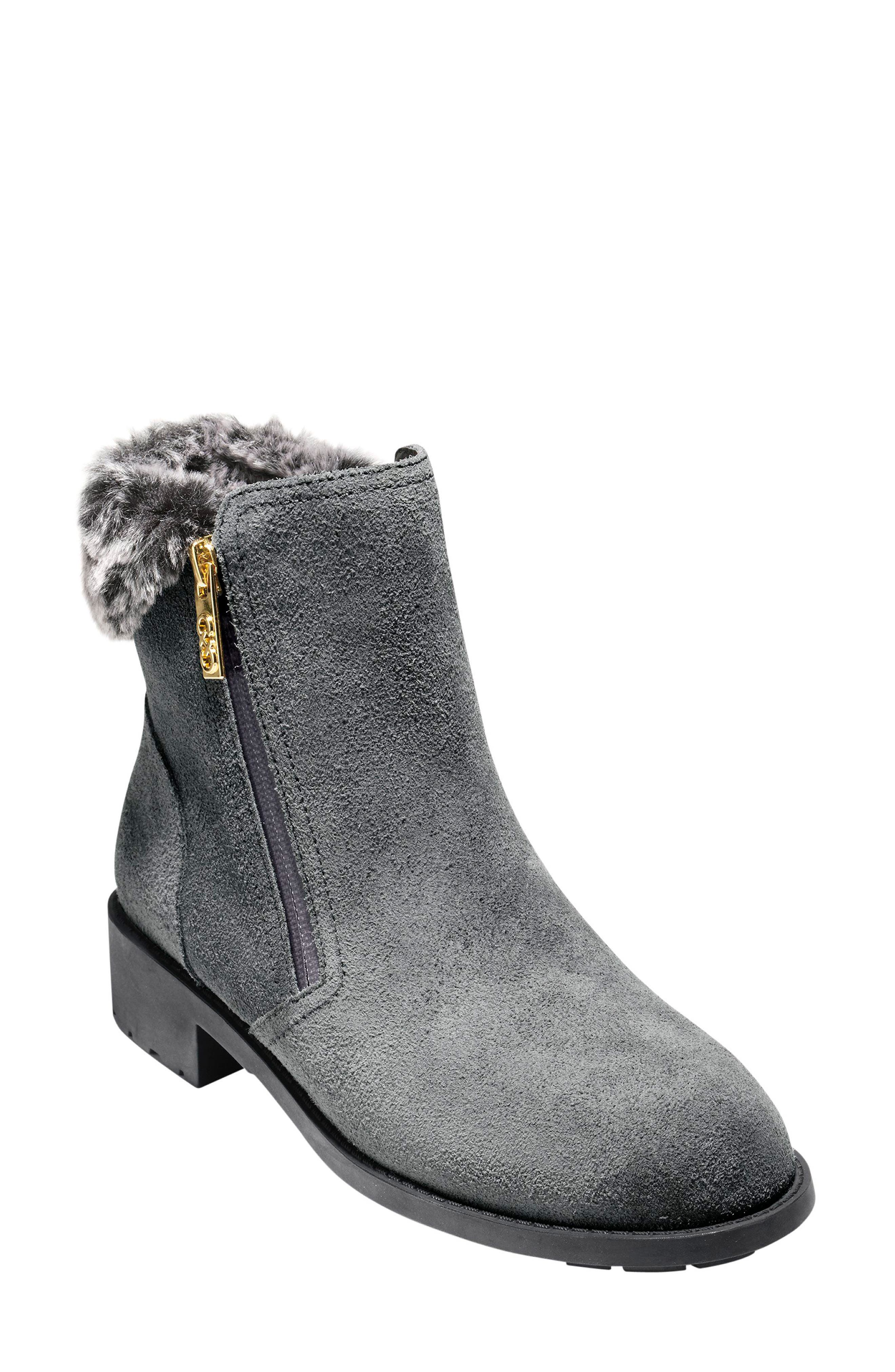 Quinney Waterproof Bootie with Faux Shearling Trim,                         Main,                         color, Castlerock Waterproof Suede