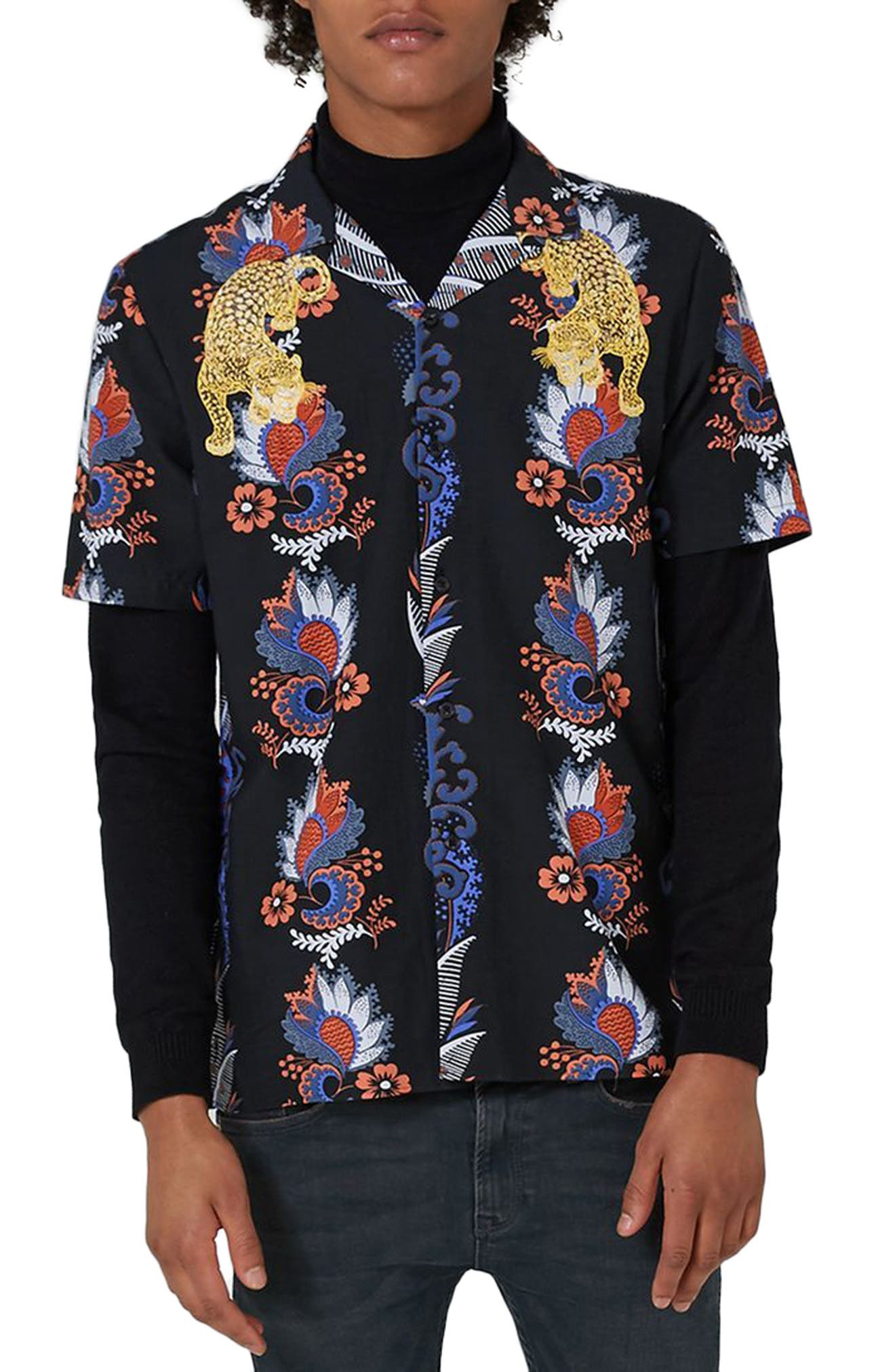 Embroidered Tiger Print Revere Collar Shirt,                         Main,                         color, Black