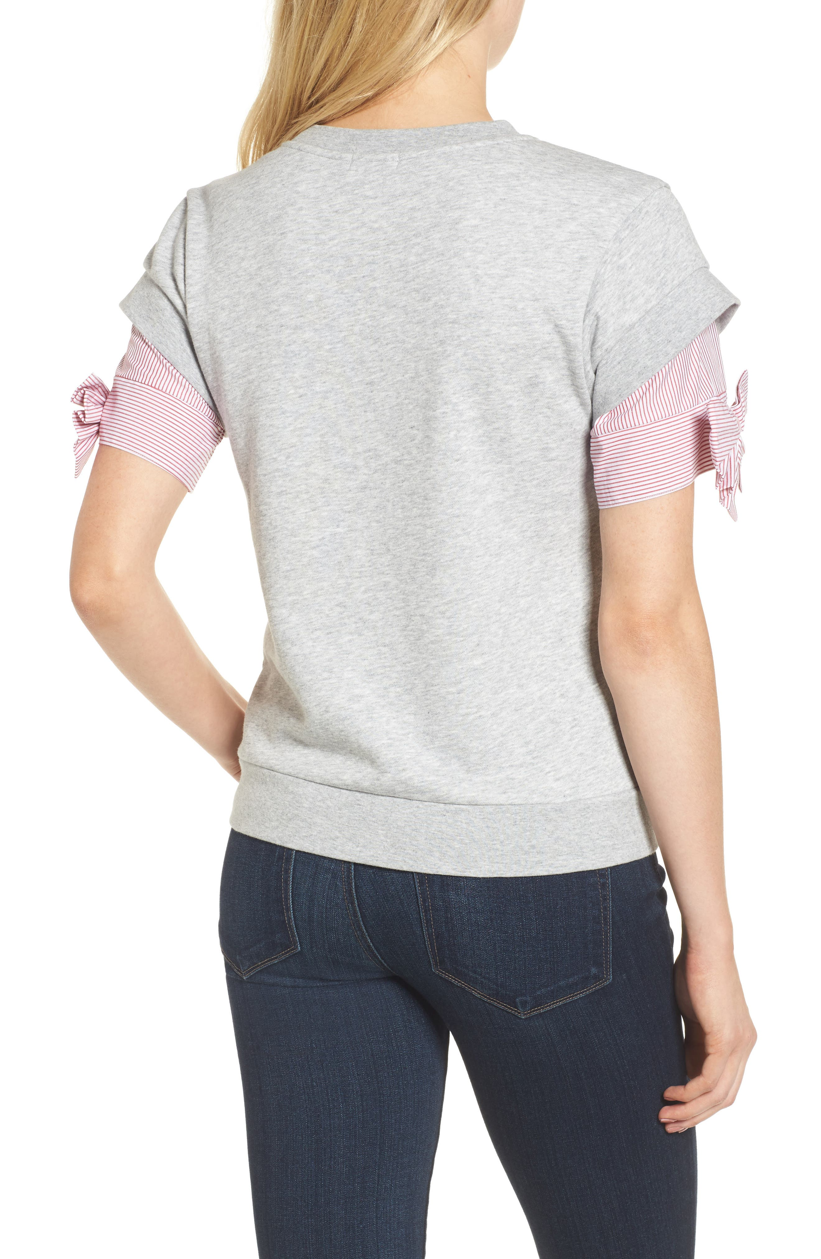 Bow Sleeve Sweatshirt,                             Alternate thumbnail 2, color,                             Grey Heather