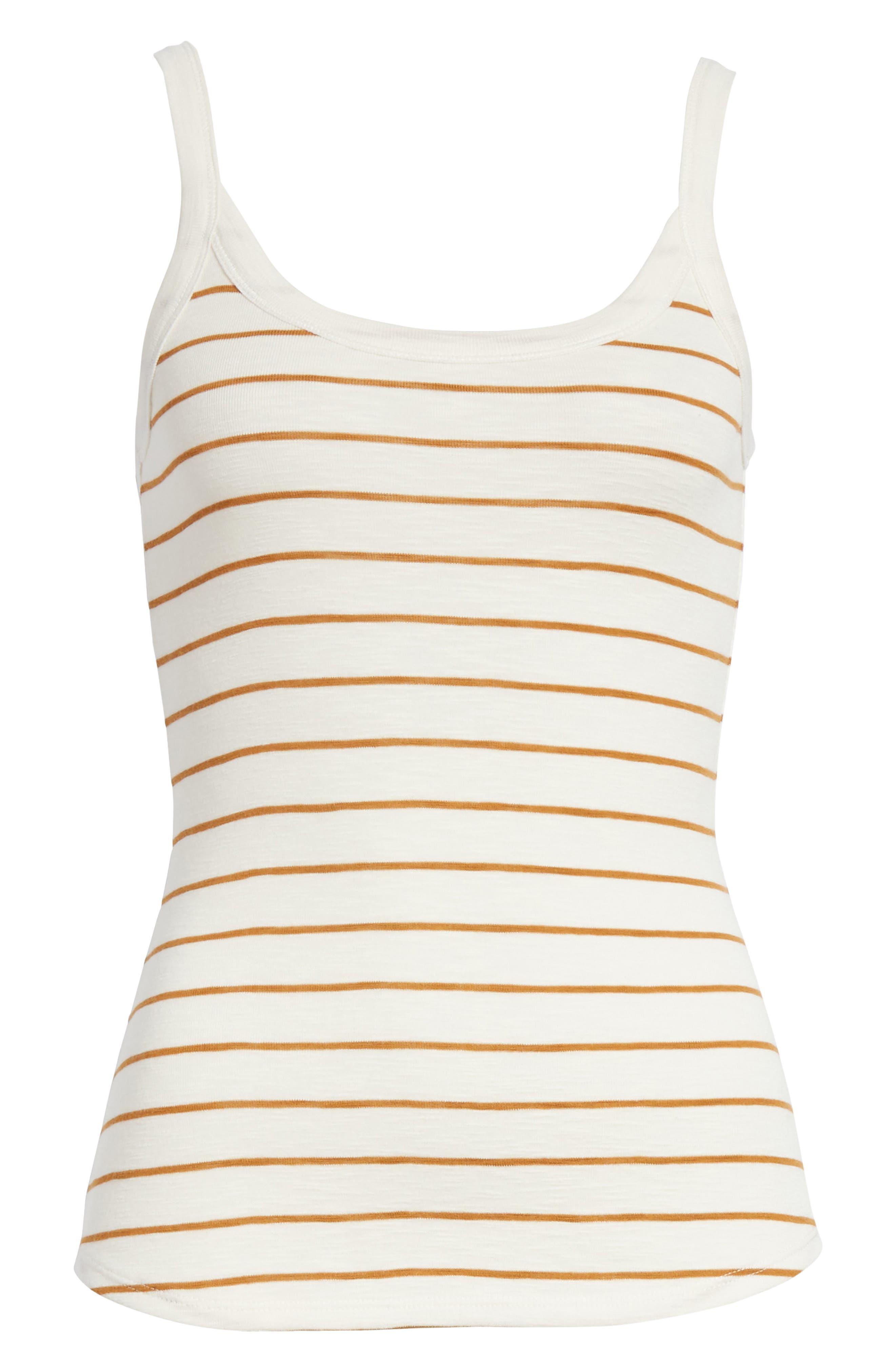 Scoop Neck Stripe Camisole,                             Alternate thumbnail 6, color,                             Vanilla/ Turmeric