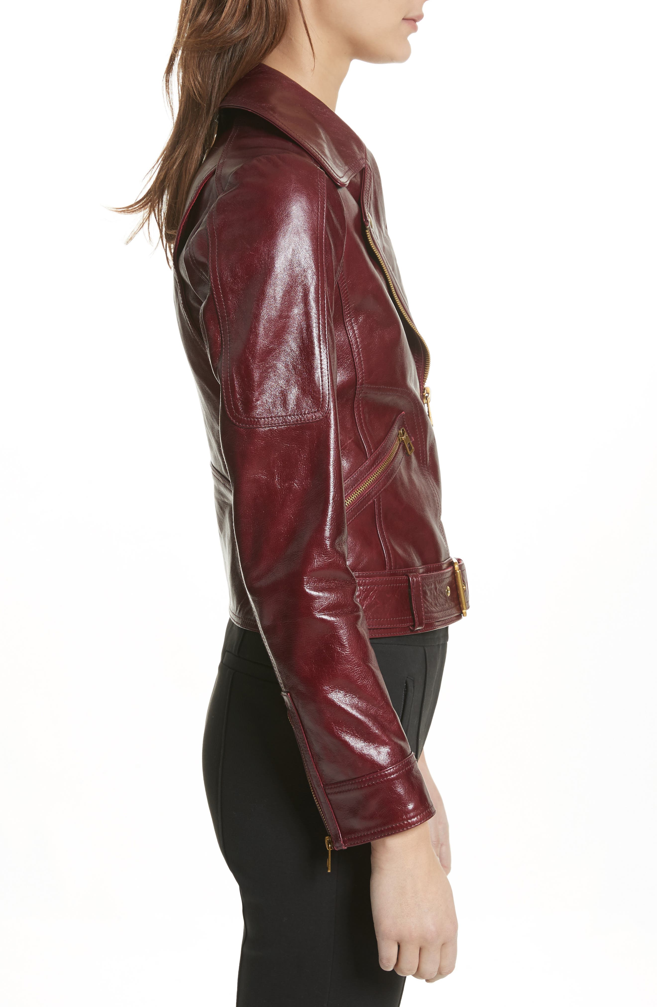 Bianca Leather Moto Jacket,                             Alternate thumbnail 3, color,                             Red