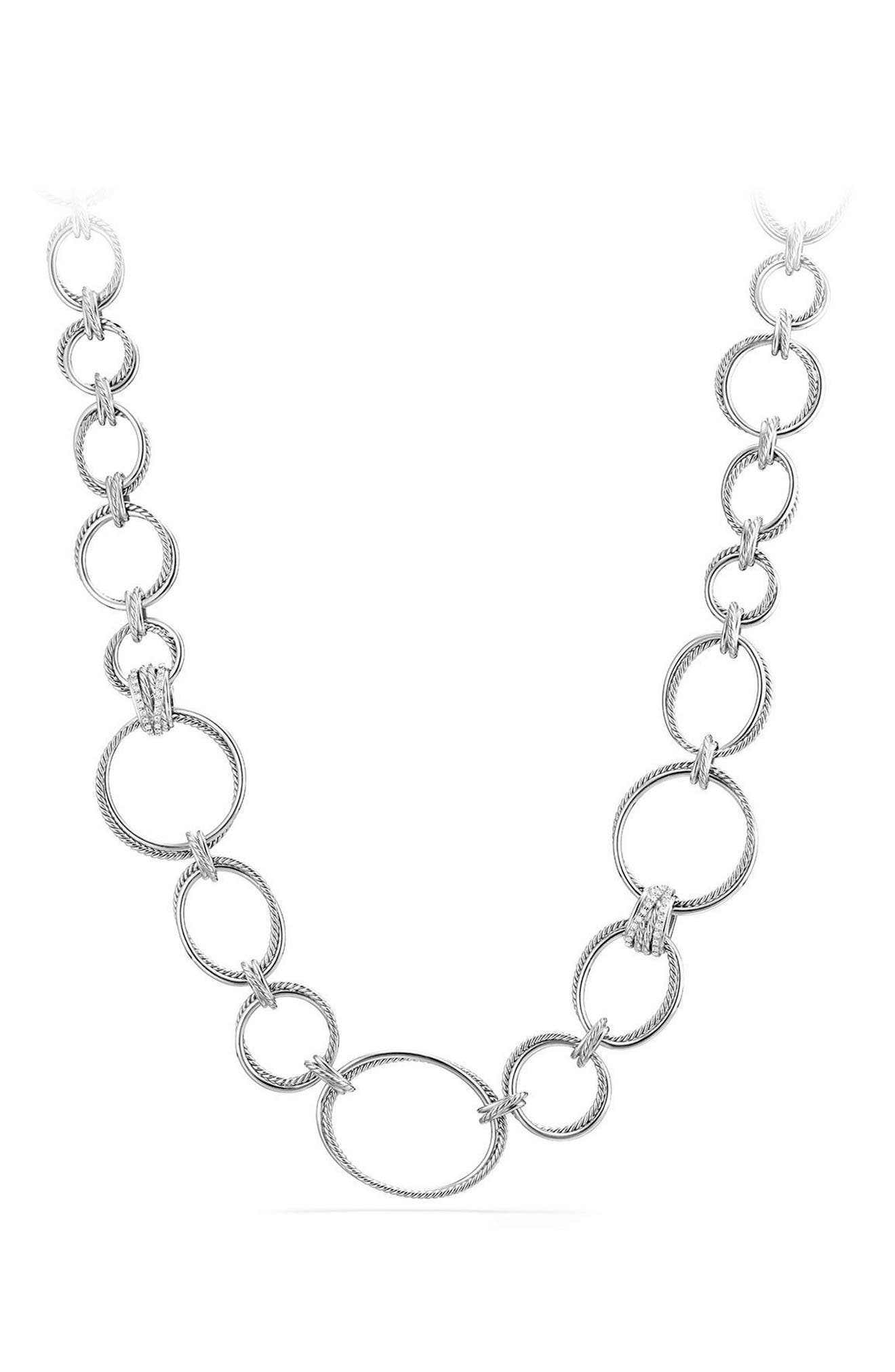 Crossover Convertible Statement Necklace with Diamonds,                         Main,                         color, Silver