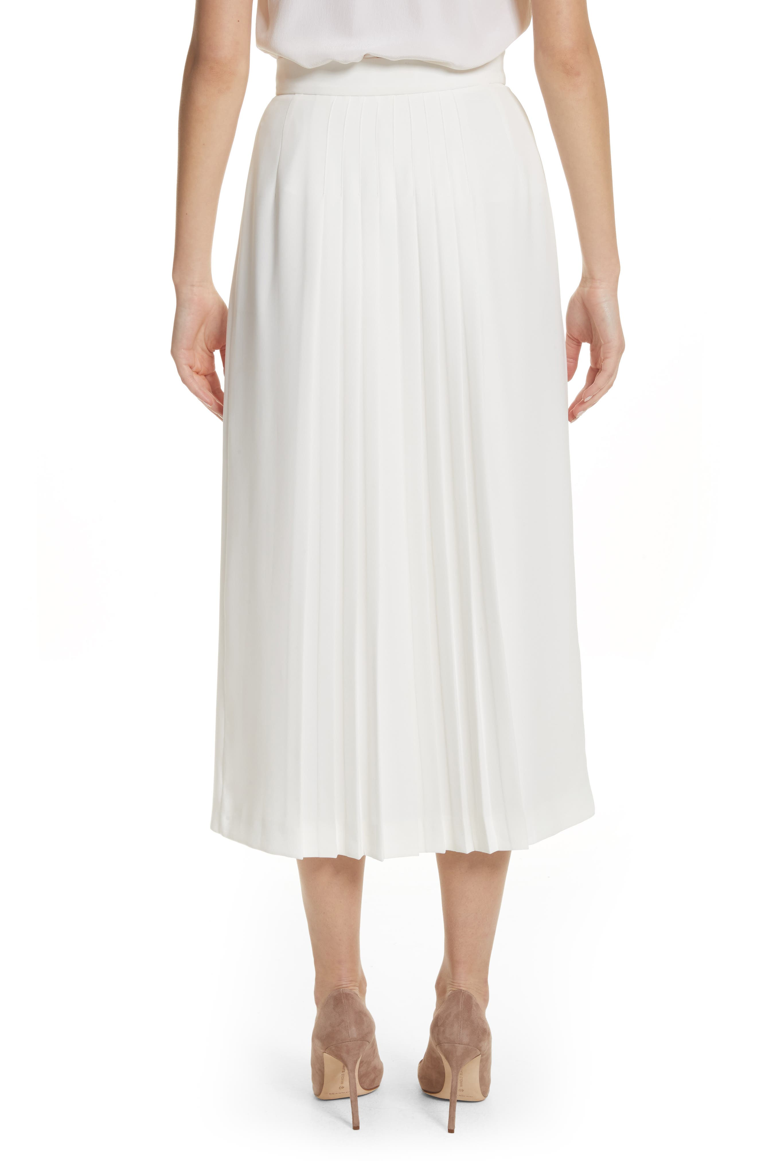 Pleated Button Skirt,                             Alternate thumbnail 2, color,                             White