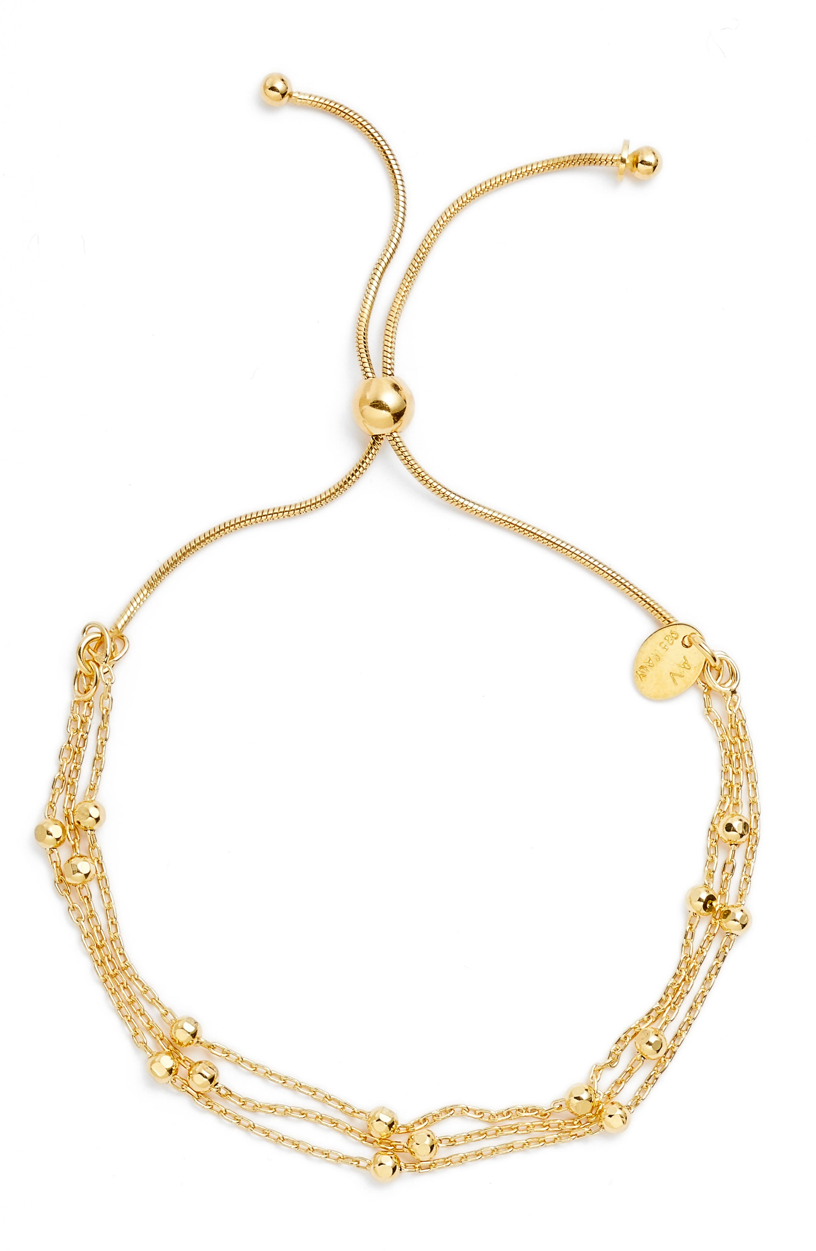 Beaded Chain Bracelet,                             Main thumbnail 1, color,                             Gold