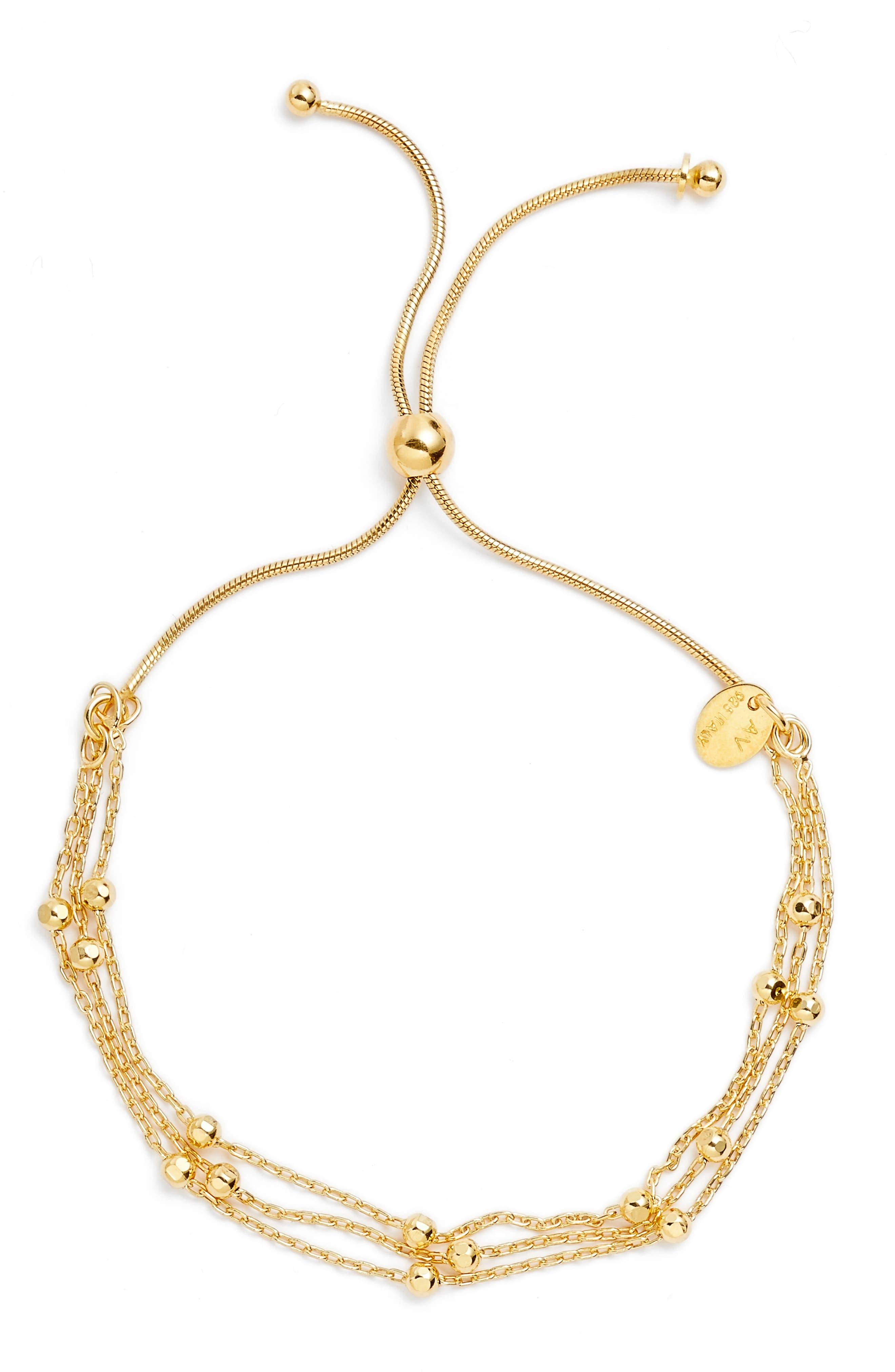 Beaded Chain Bracelet,                         Main,                         color, Gold