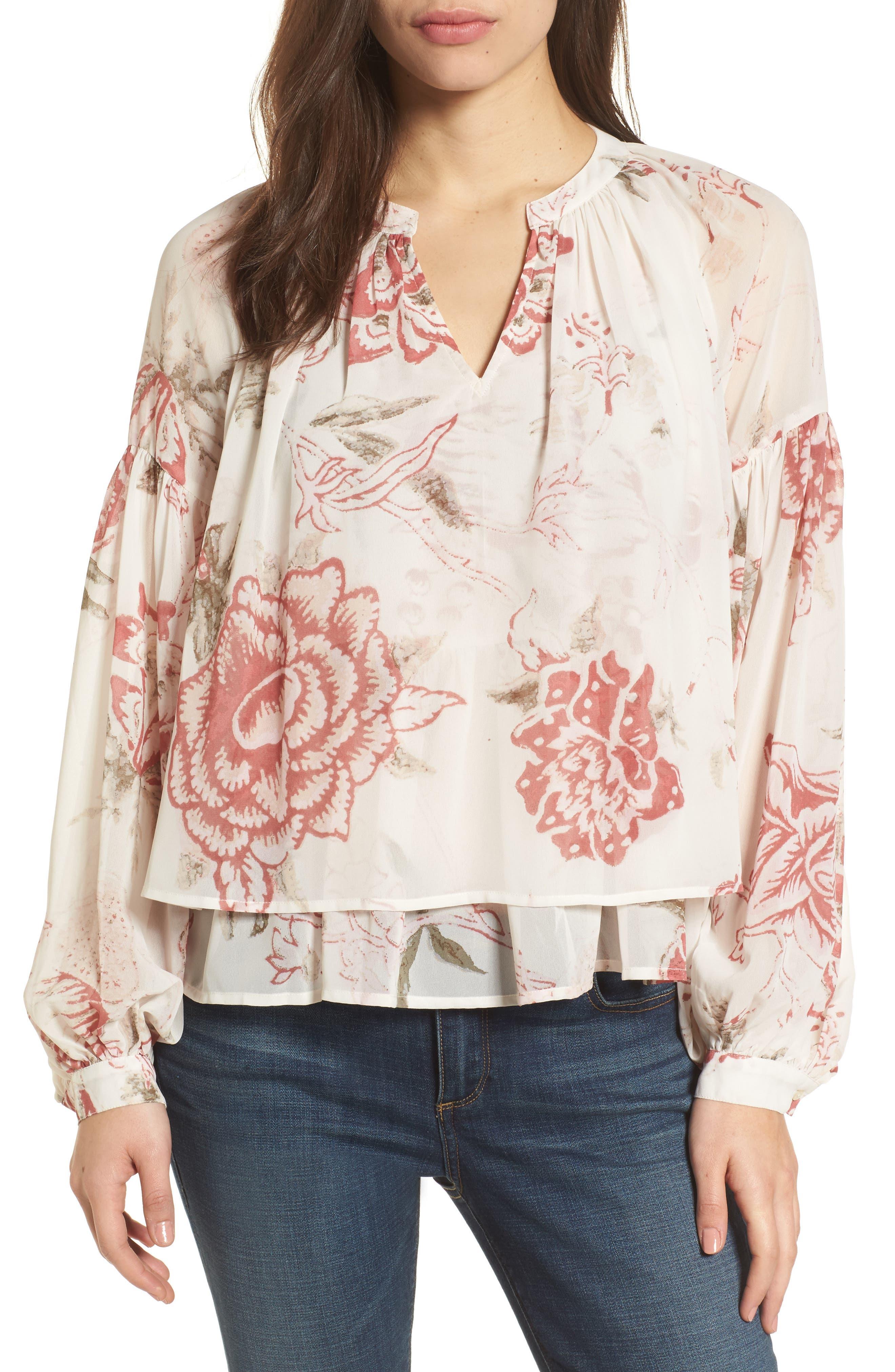 Alternate Image 1 Selected - Lucky Brand Floral Print Ruffle Hem Blouse
