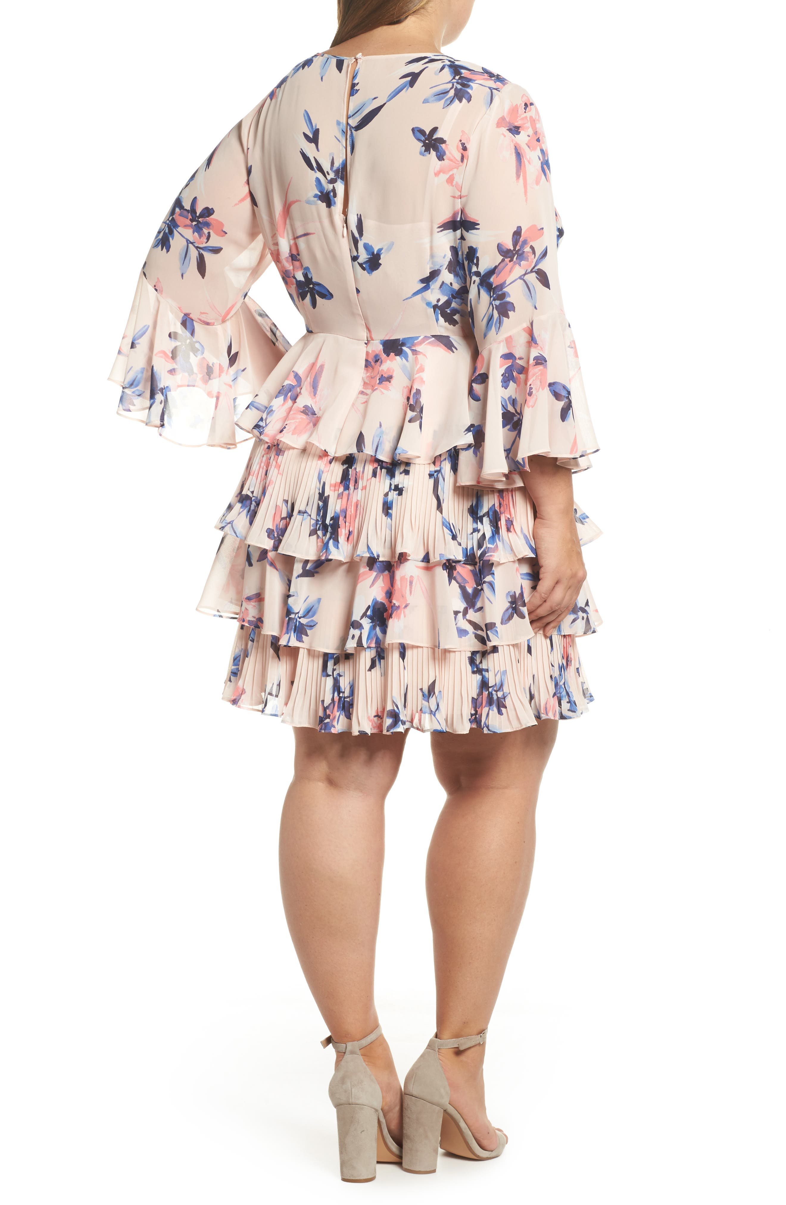 Bell Sleeve Tiered Ruffle Dress,                             Alternate thumbnail 3, color,                             Blush