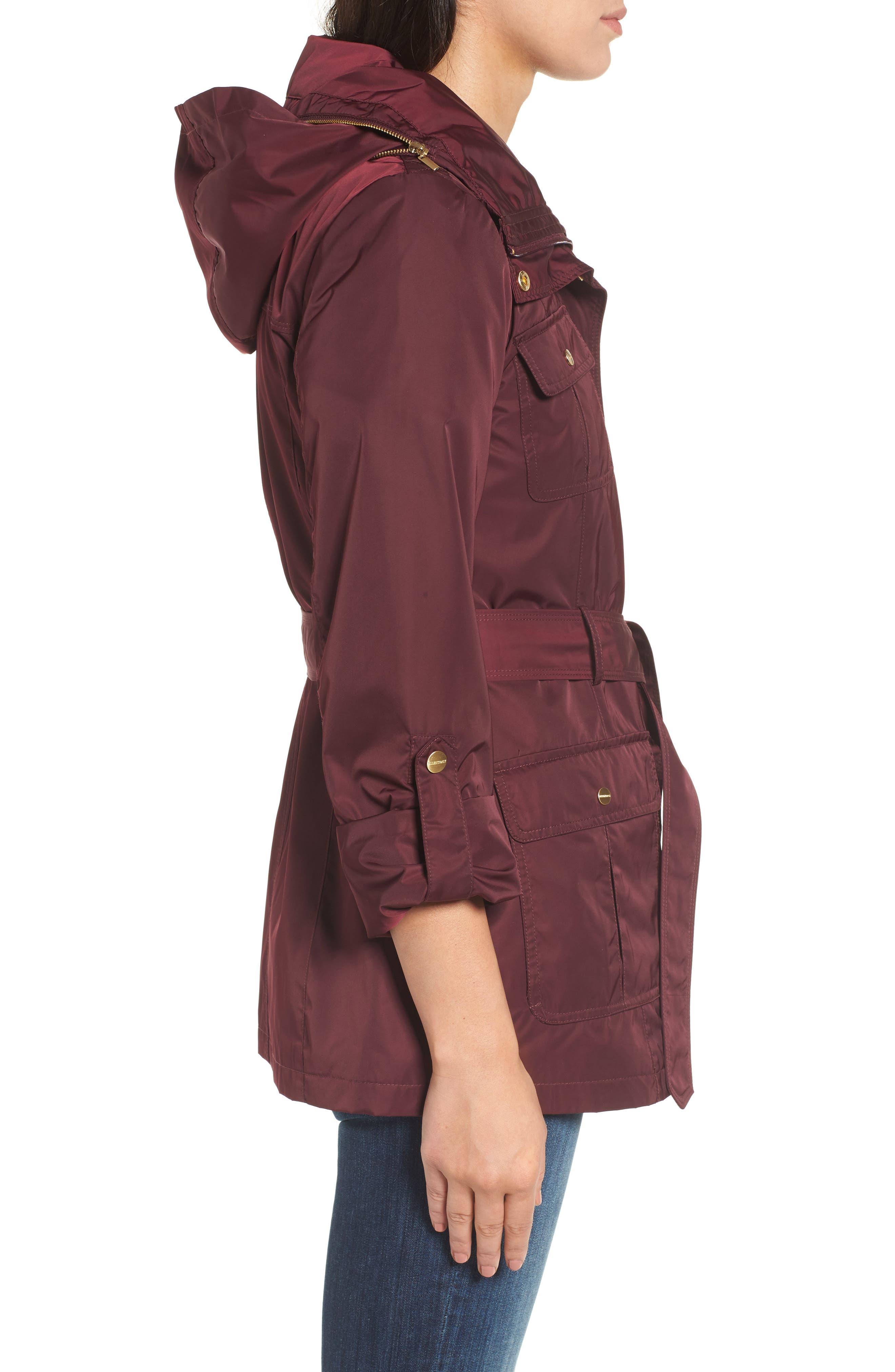 Techno Short Trench Coat,                             Alternate thumbnail 3, color,                             Burgundy