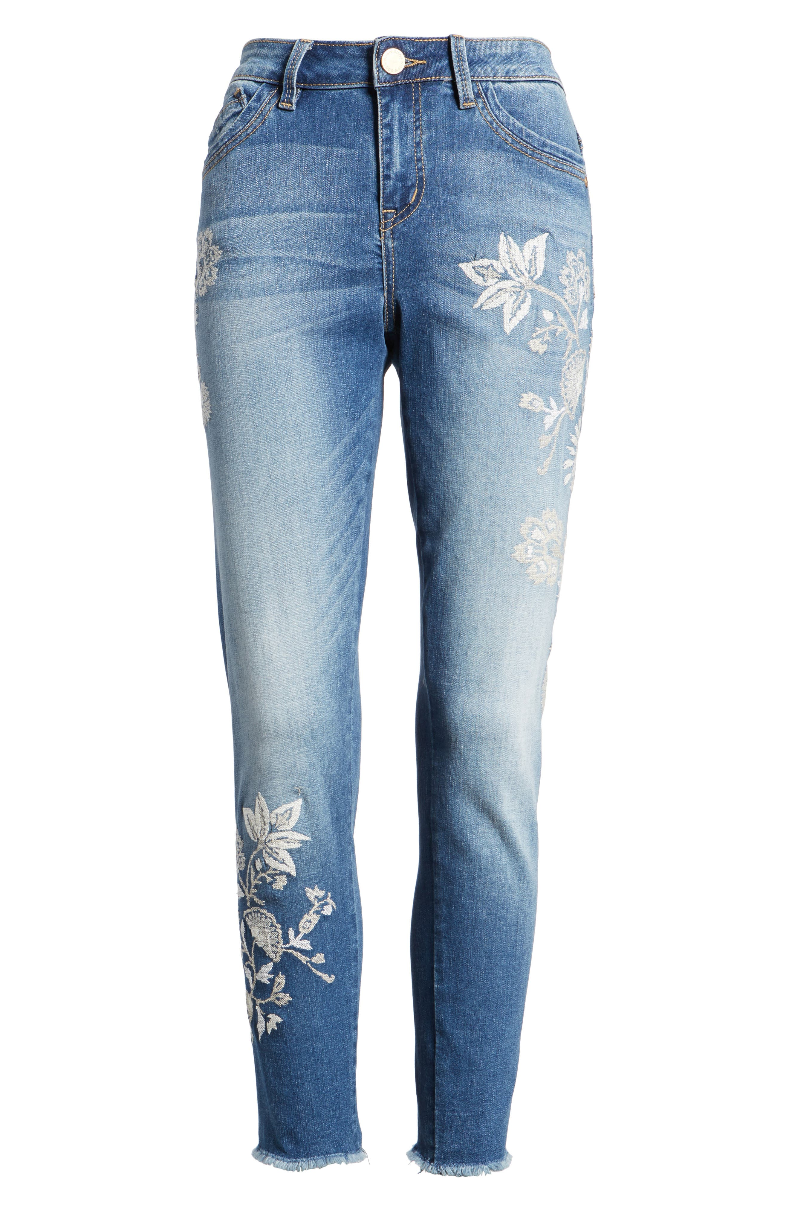 Alternate Image 7  - Wit & Wisdom Embroidered Frayed Hem Ankle Jeans (Nordstrom Exclusive) (Regular & Petite)