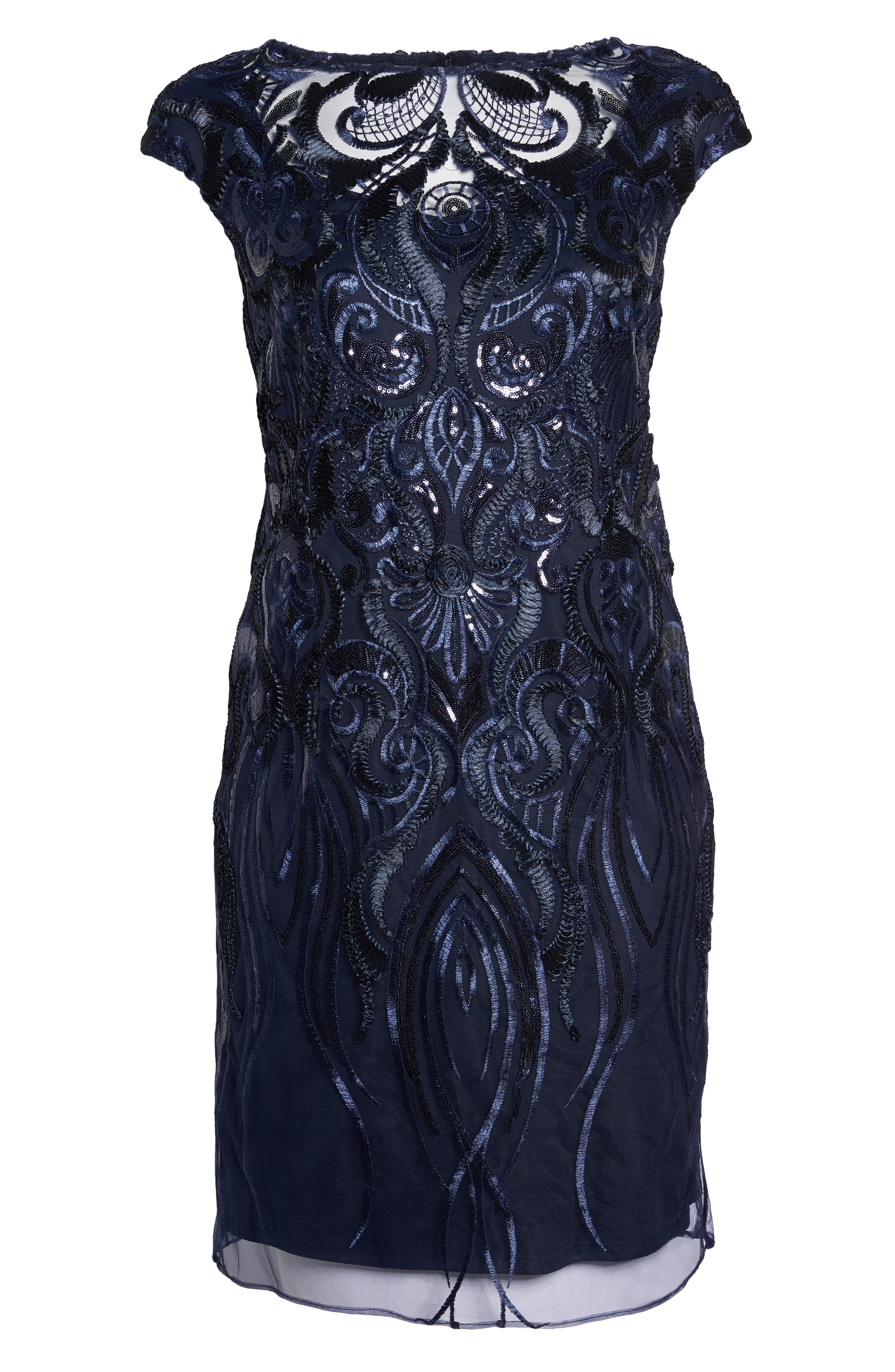 Sequin Embroidered Sheath Dress,                             Alternate thumbnail 6, color,                             Navy