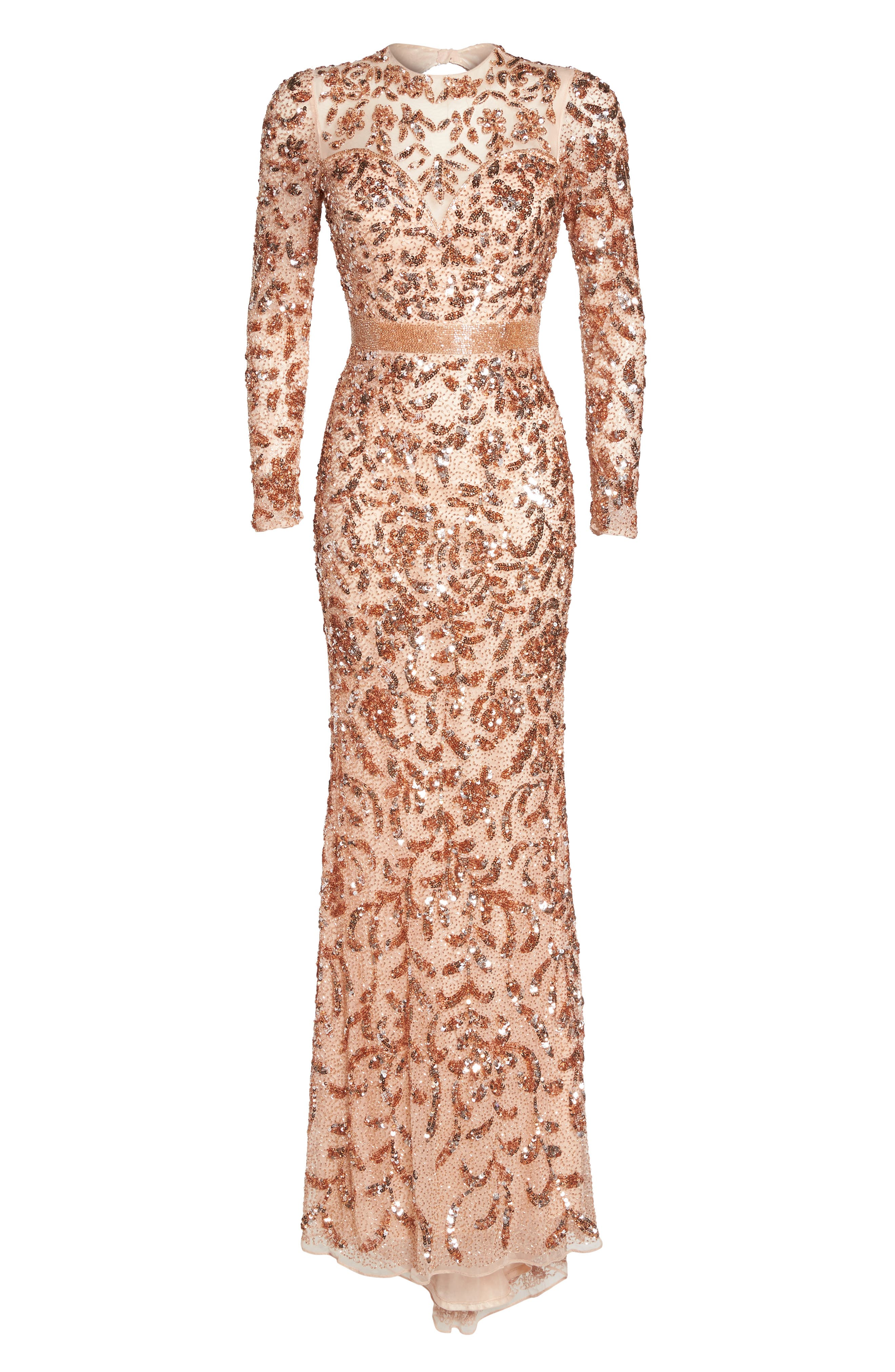 Beaded Gown,                             Alternate thumbnail 6, color,                             Rose Gold
