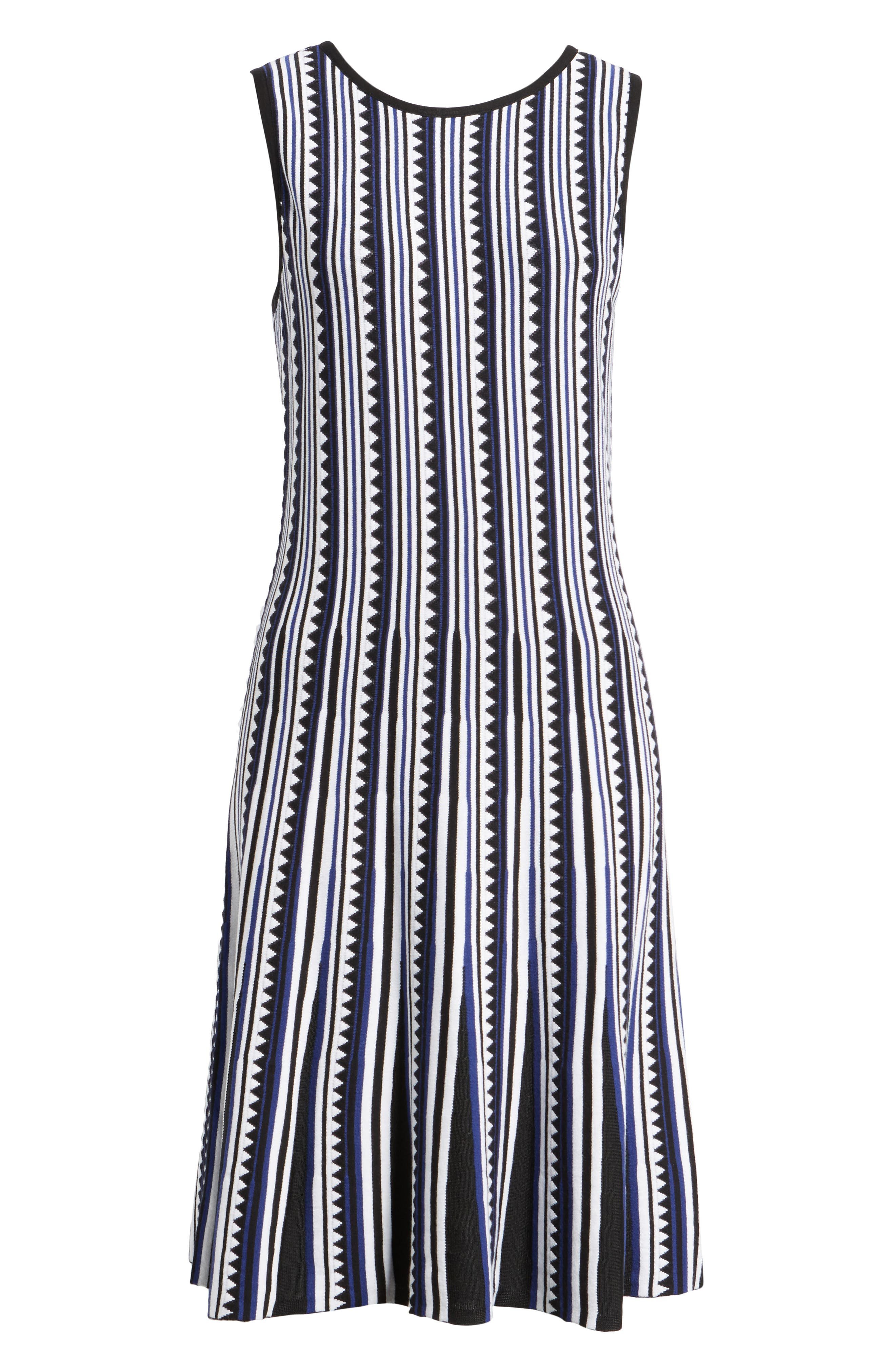 Triangle Knit Twirl Dress,                             Alternate thumbnail 6, color,                             Blue Multi