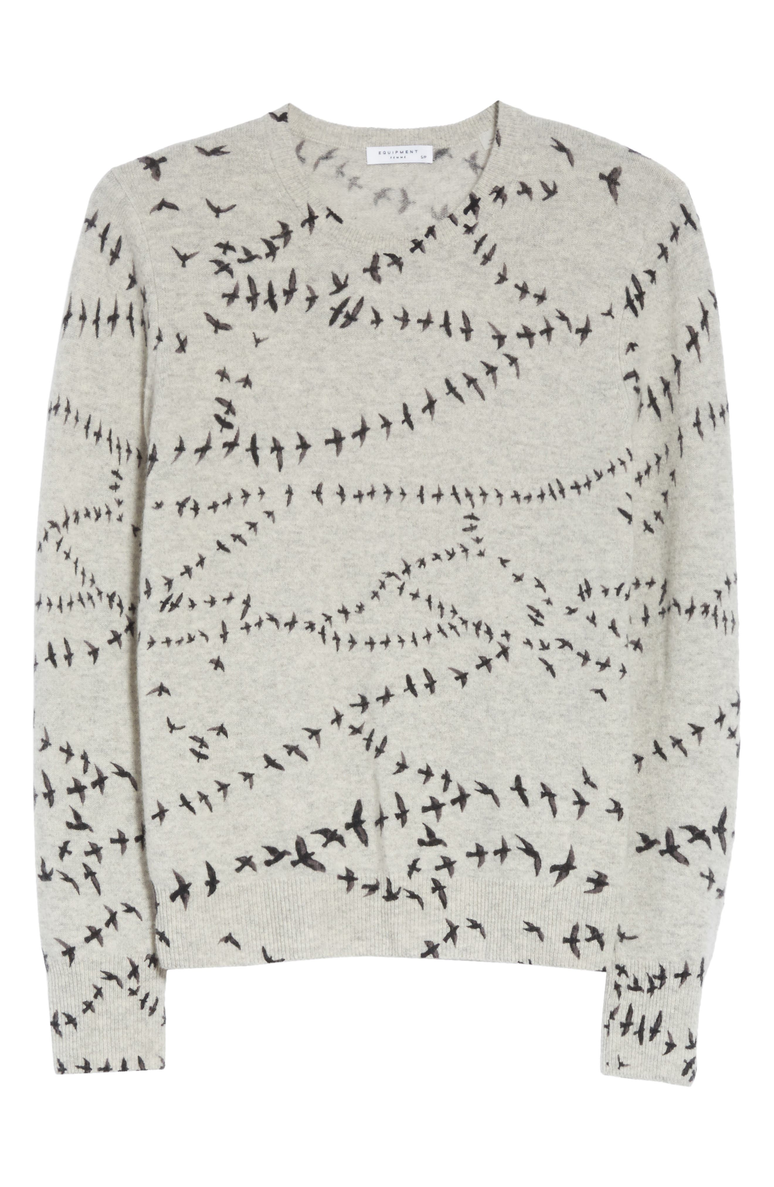 Shane Bird Print Cashmere Sweater,                             Alternate thumbnail 6, color,                             Light Heather Grey Multi