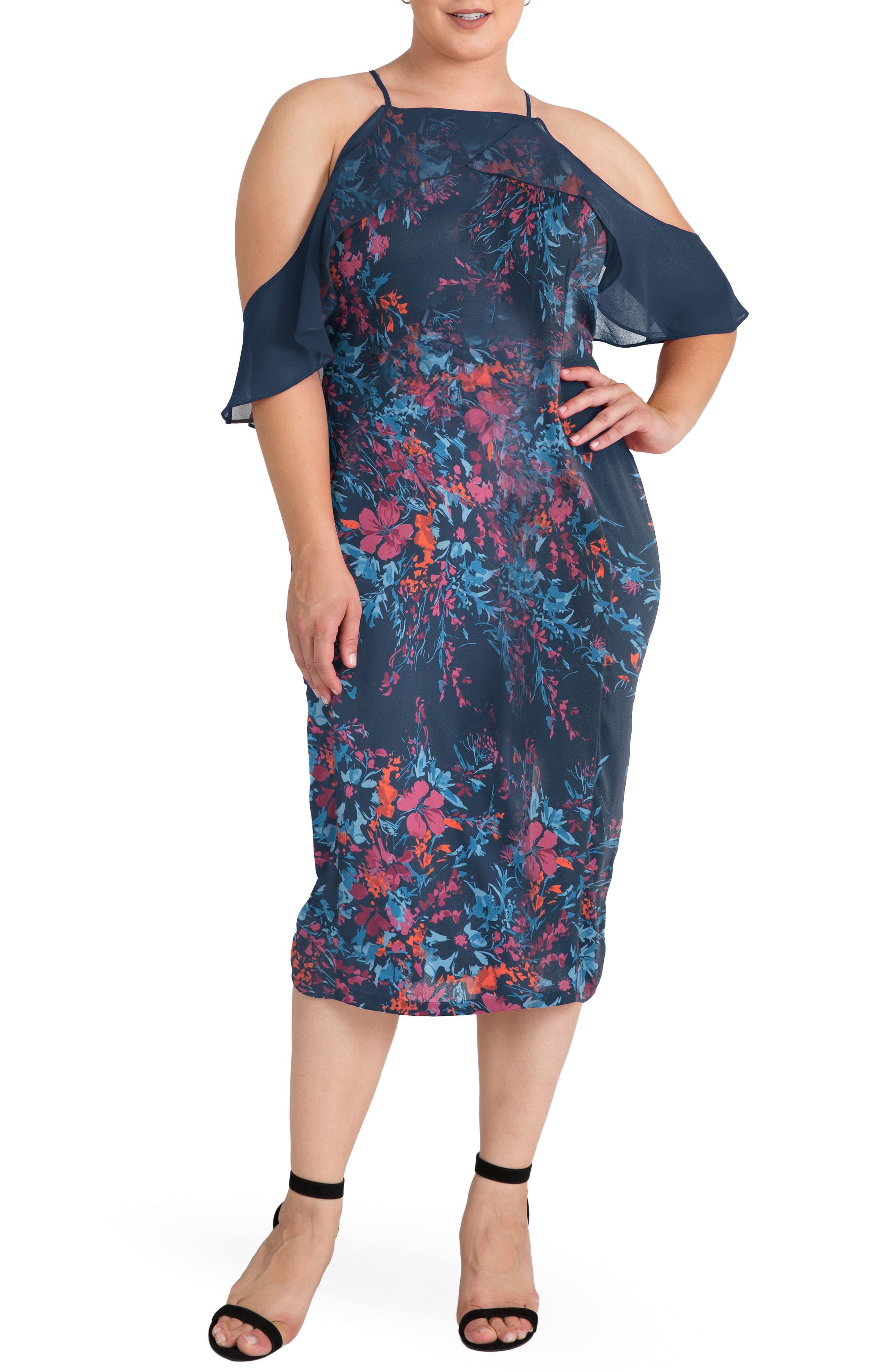 Main Image - Standards & Practices Cold Shoulder Floral Sheath Dress (Plus Size)