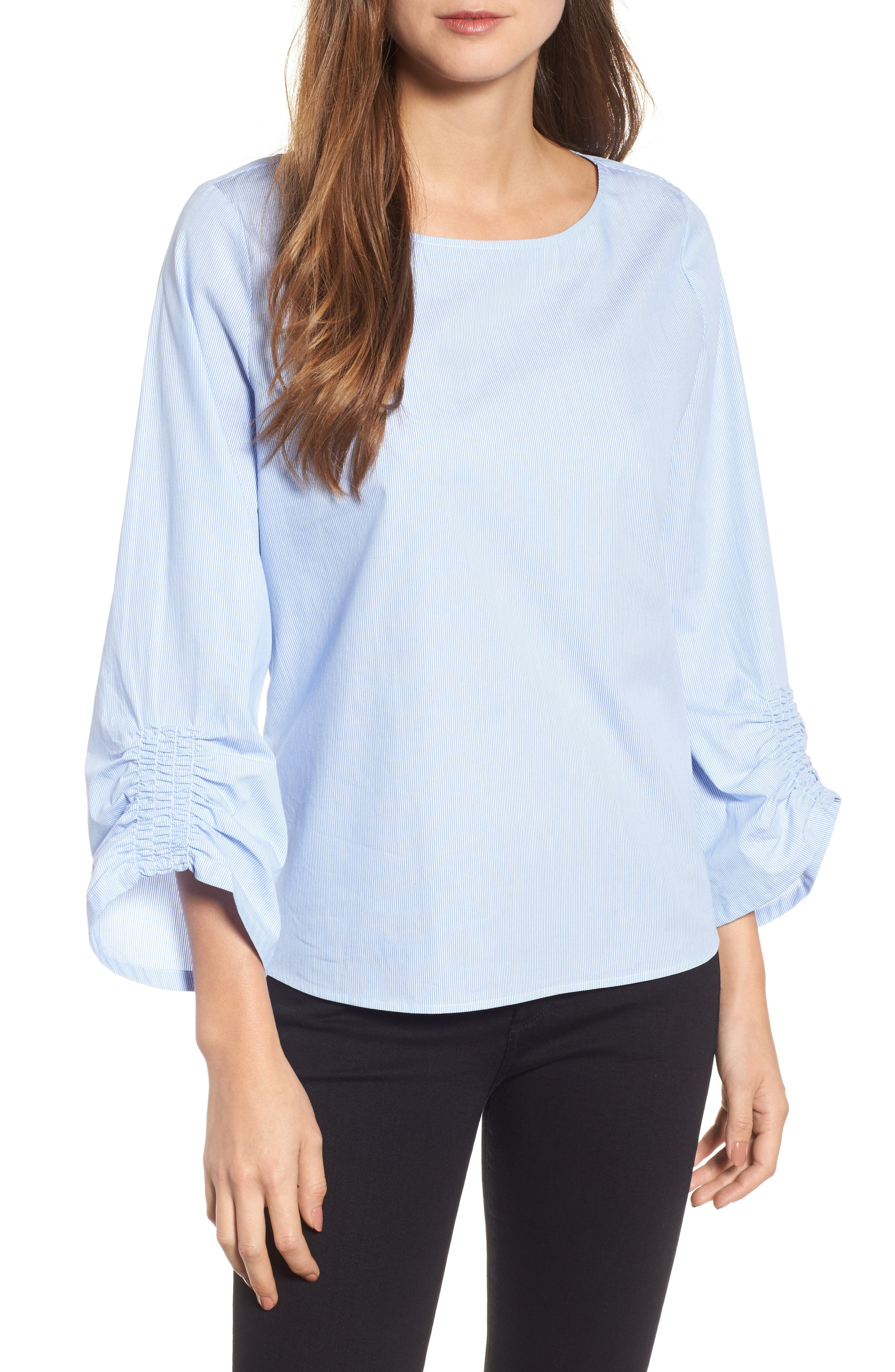 Emerson Rose Ruched Sleeve Boatneck Top